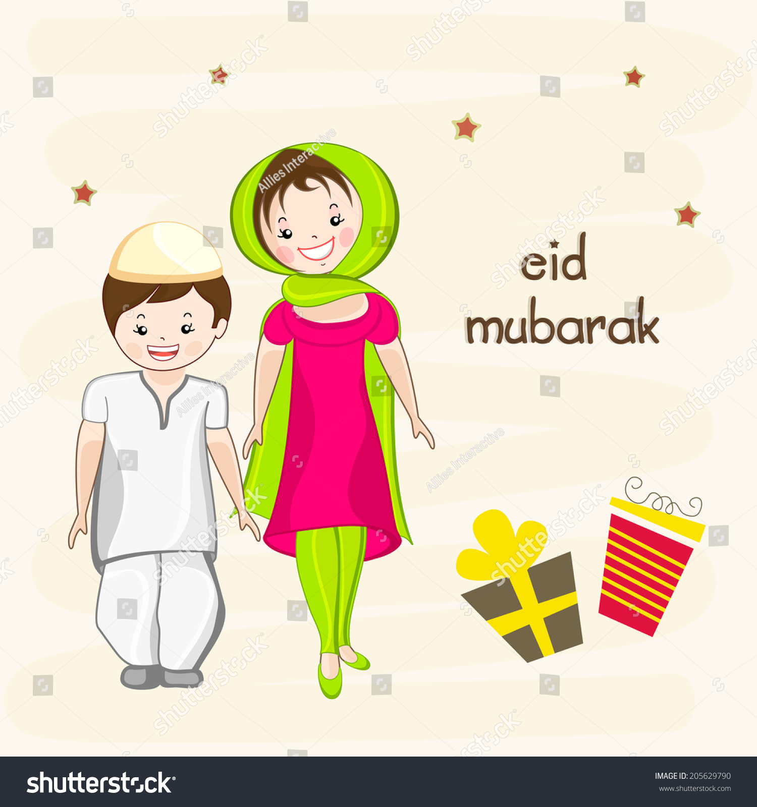 cute little religious kids islamic traditional stock vector