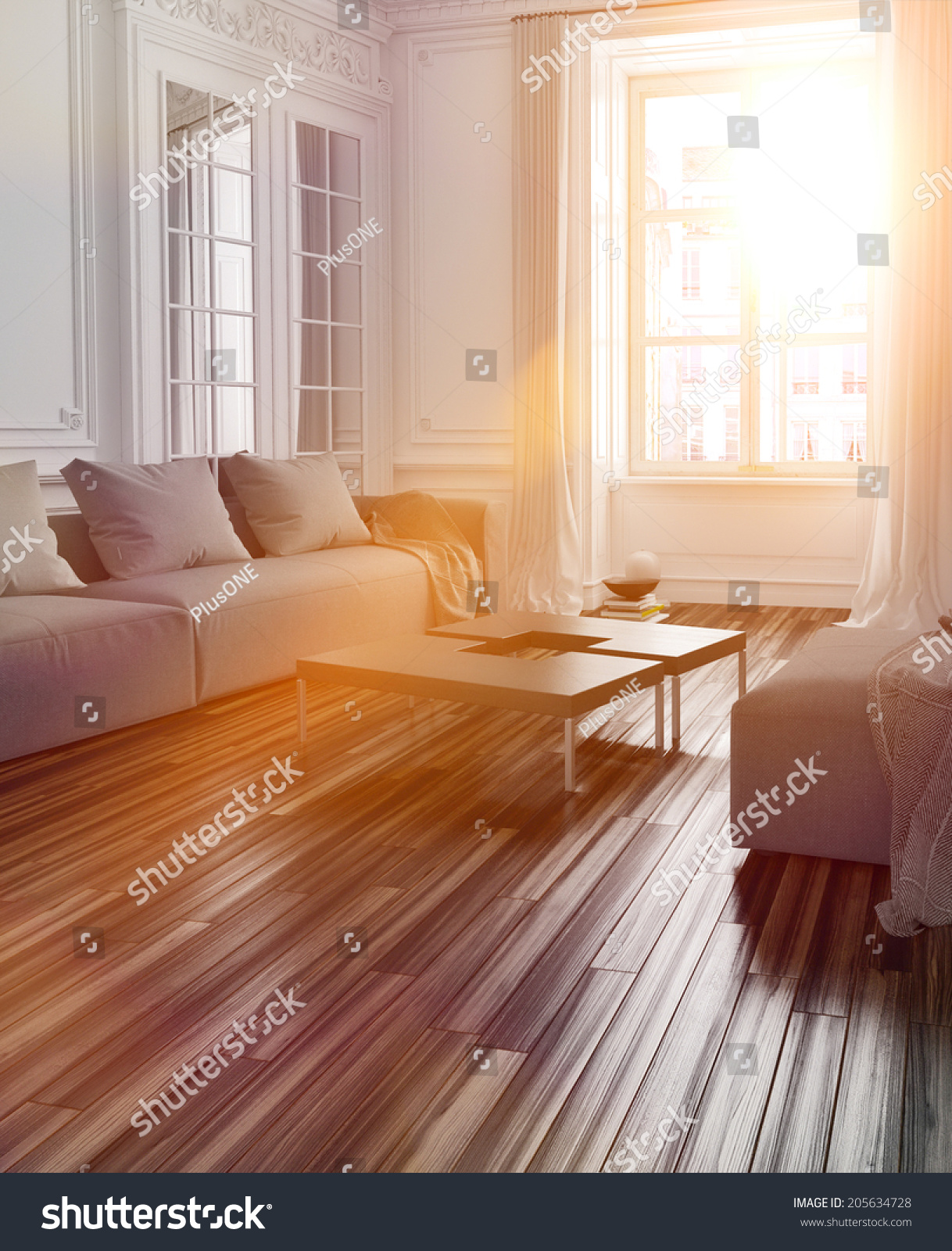 Bright Sunlight Streaming Into A Living Room Interior With