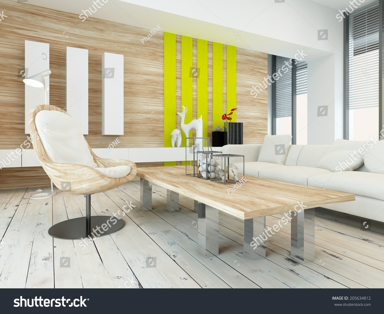 rustic wood veneer finish living room stock illustration 205634812