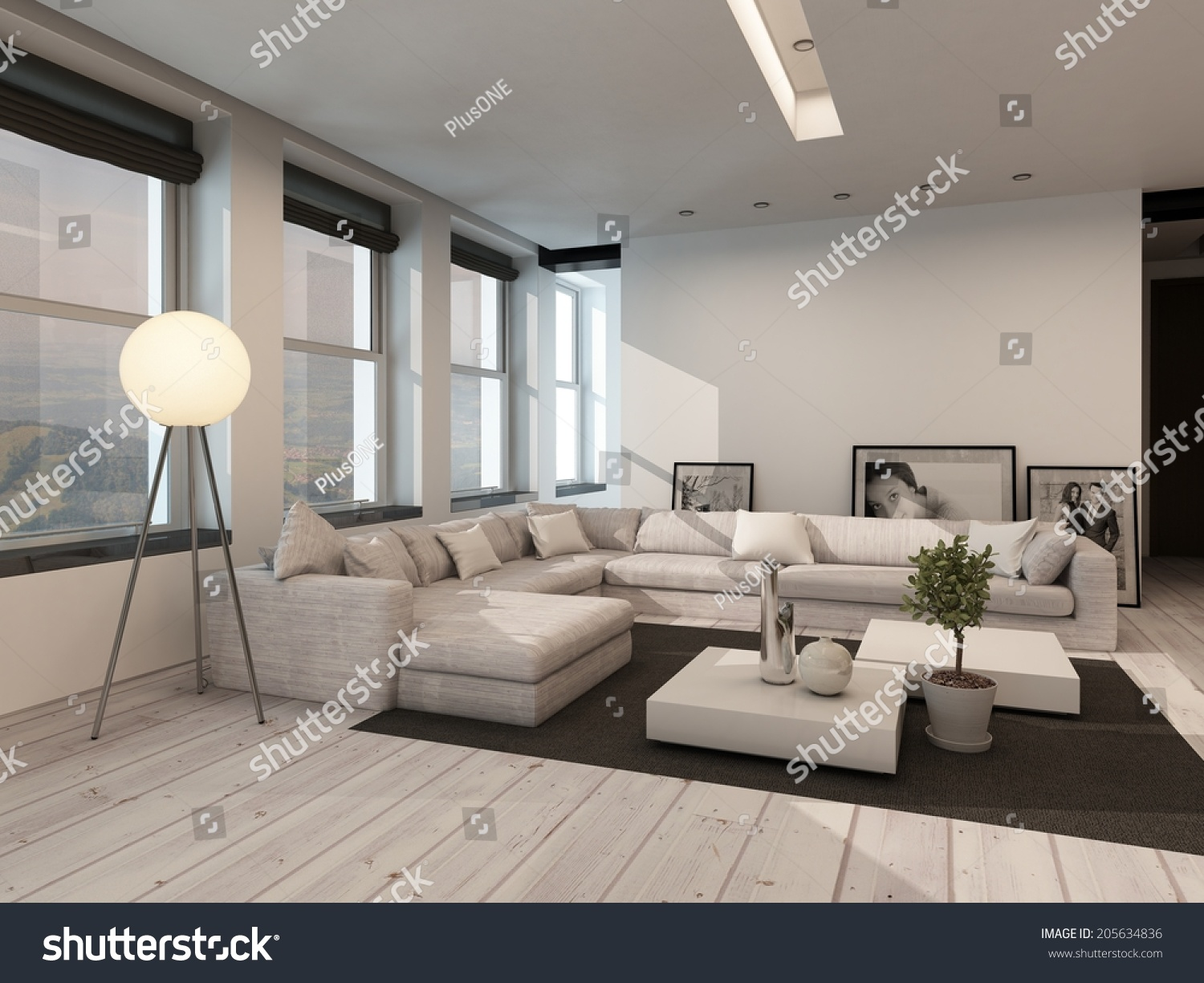 Modern black and white sitting room interior with painted white floorboards with a black carpet - White sitting rooms ...