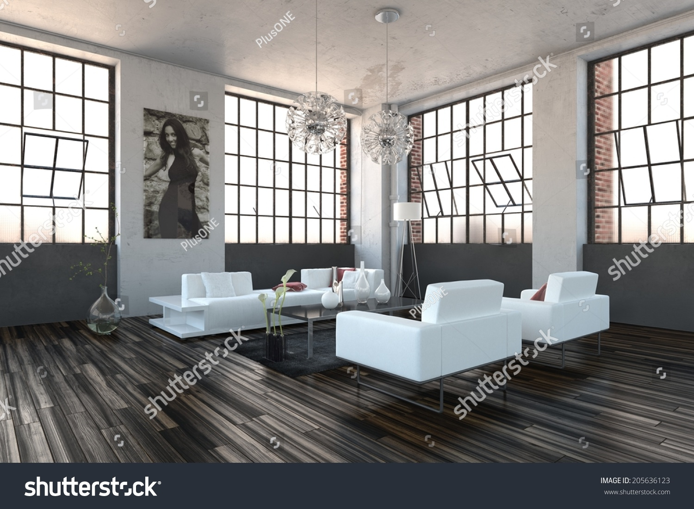 Very bright high volume modern living room interior with for Very modern living room