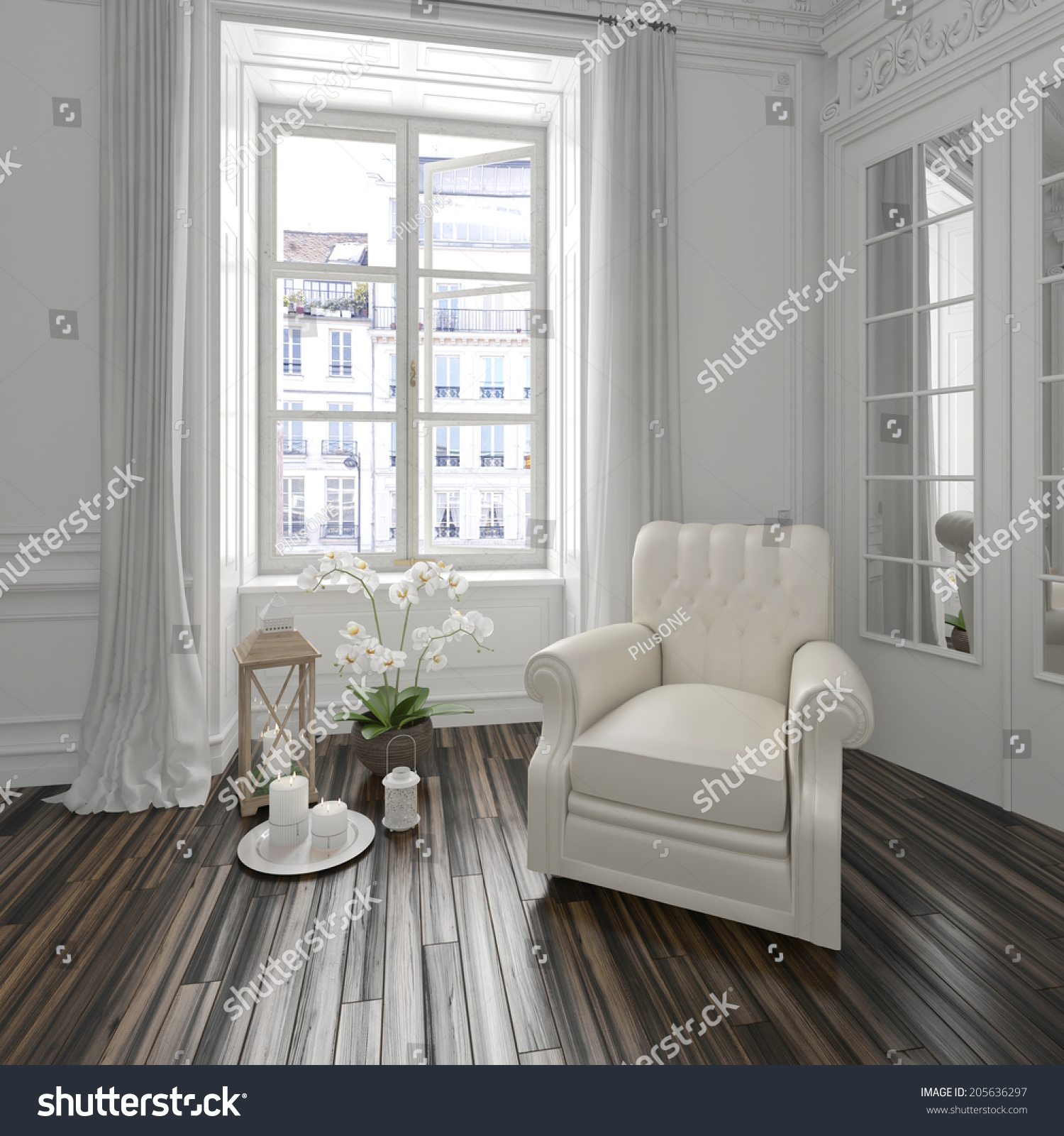 Bright Airy White Townhouse Living Room Stock Illustration 205636297 ...
