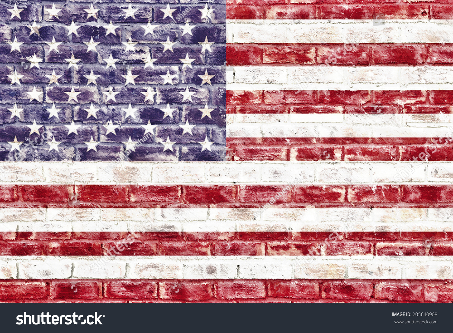 American Flag On Brick Wall Used Royalty Free Stock Image