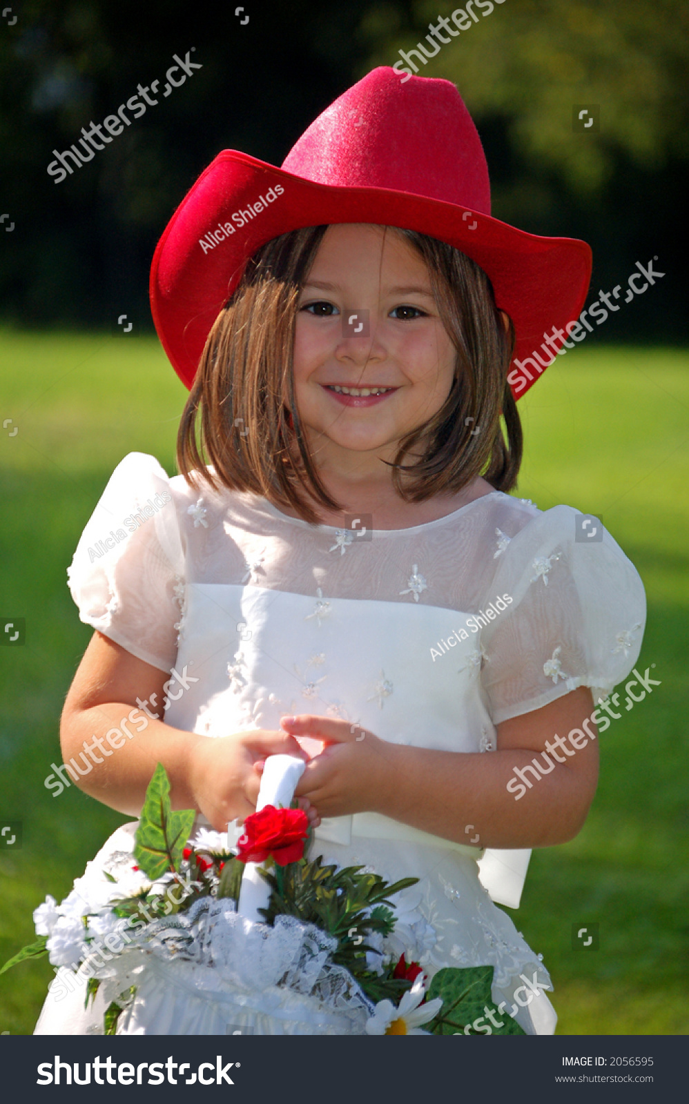 Pretty Flower Girl Red Cowboy Hat Stock Photo Safe To Use 2056595