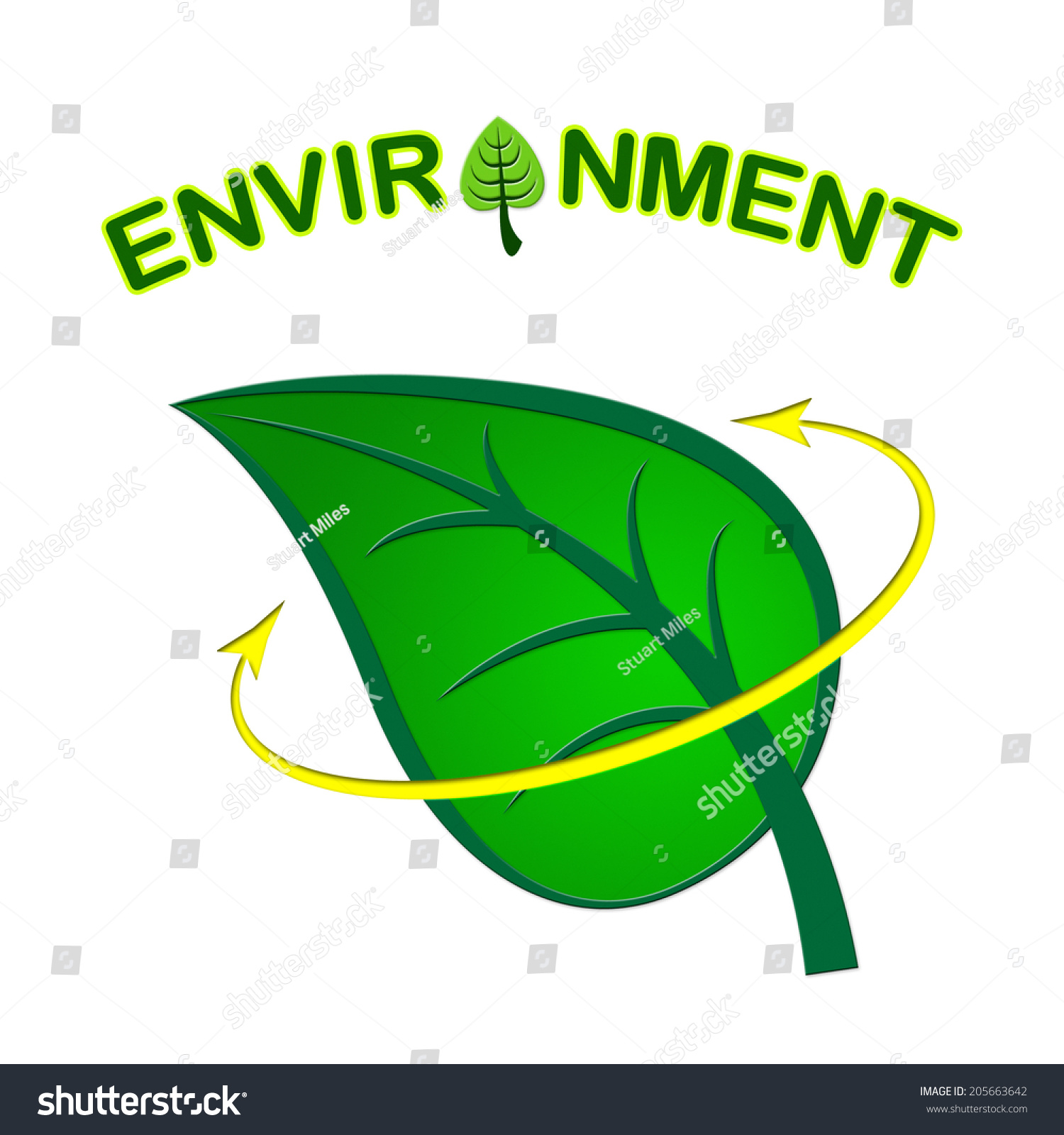 Environment Leaf Meaning Eco Friendly Recycling Stock Illustration