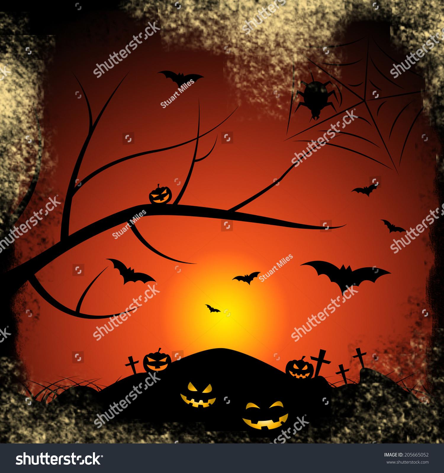 Halloween Bats Meaning Trick Treat Tree Stock Illustration ...