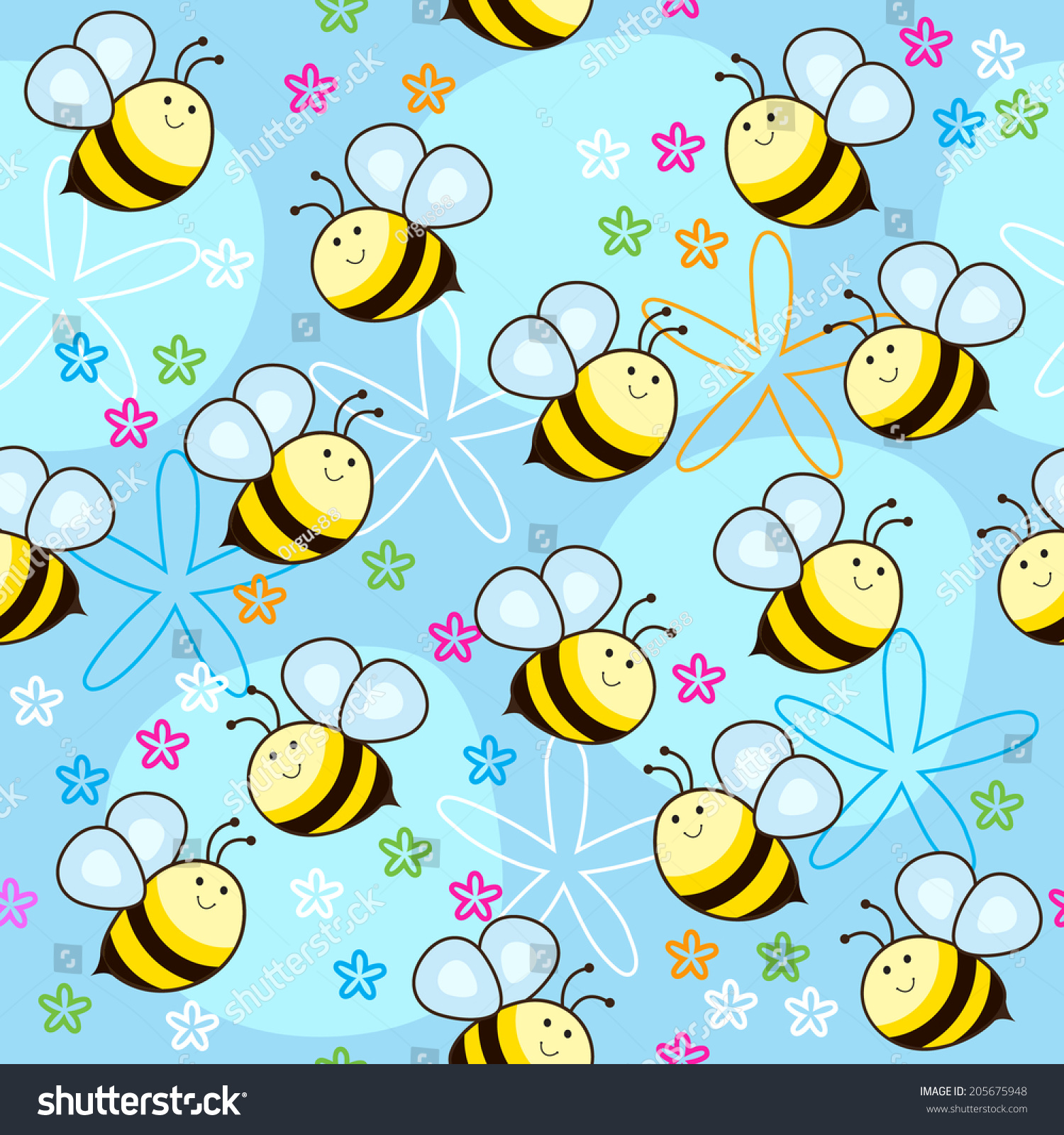 Seamless pattern cute bees design fabricbackgrounds stock for Cute paper designs
