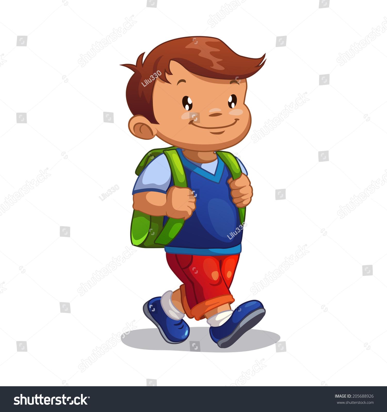 Cute Cartoon Boy Goes School Isolated Stock Vector 205688926 - Shutterstock-7789