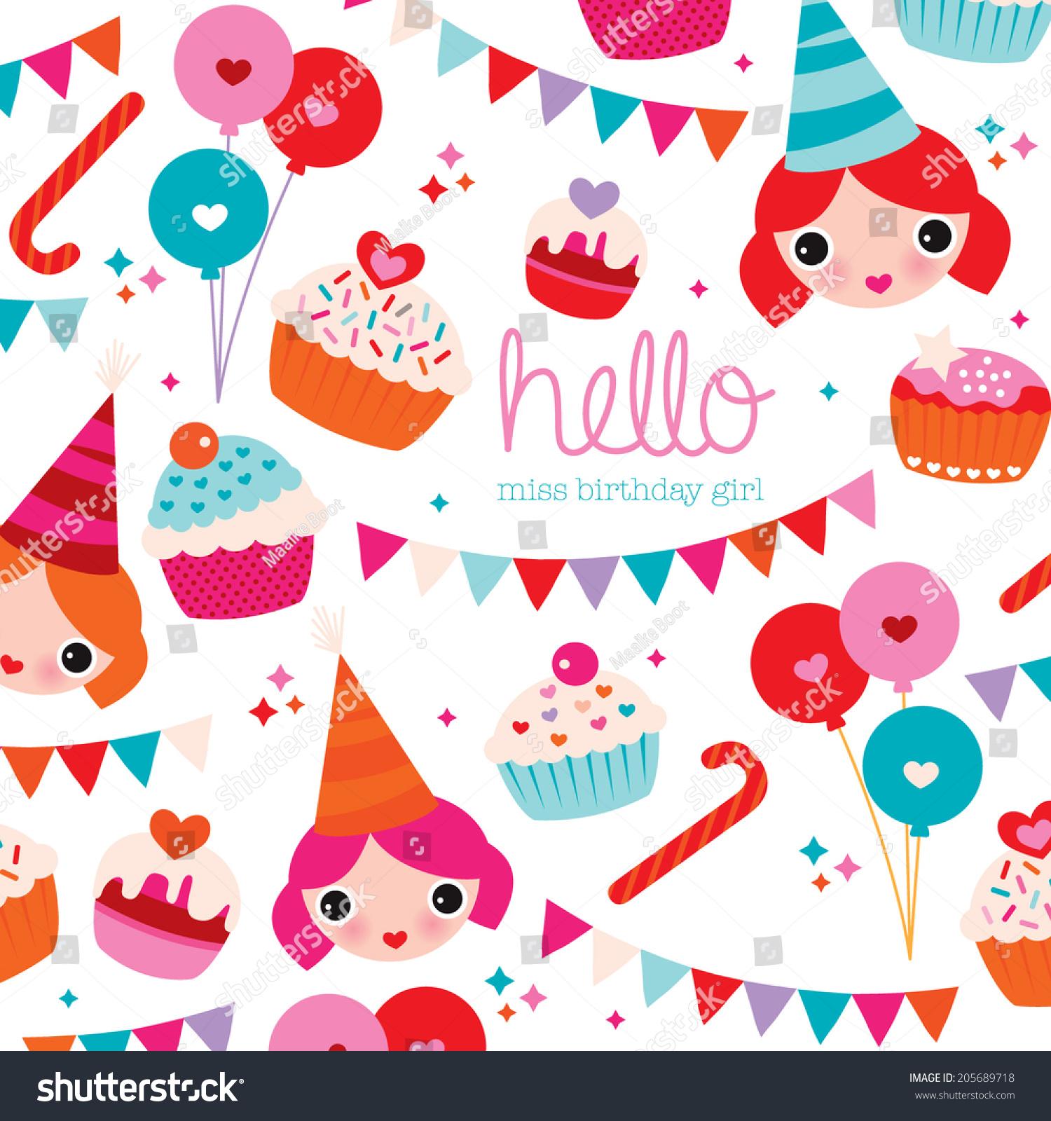 happy birthday little girl birthday party stock vector royalty free