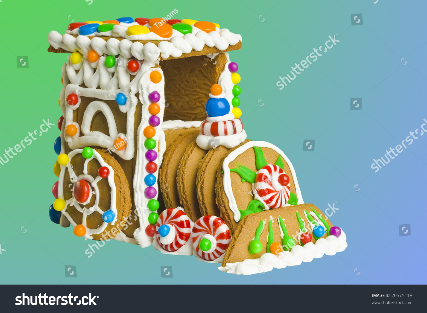 Gingerbread locomotive cake, clipping path