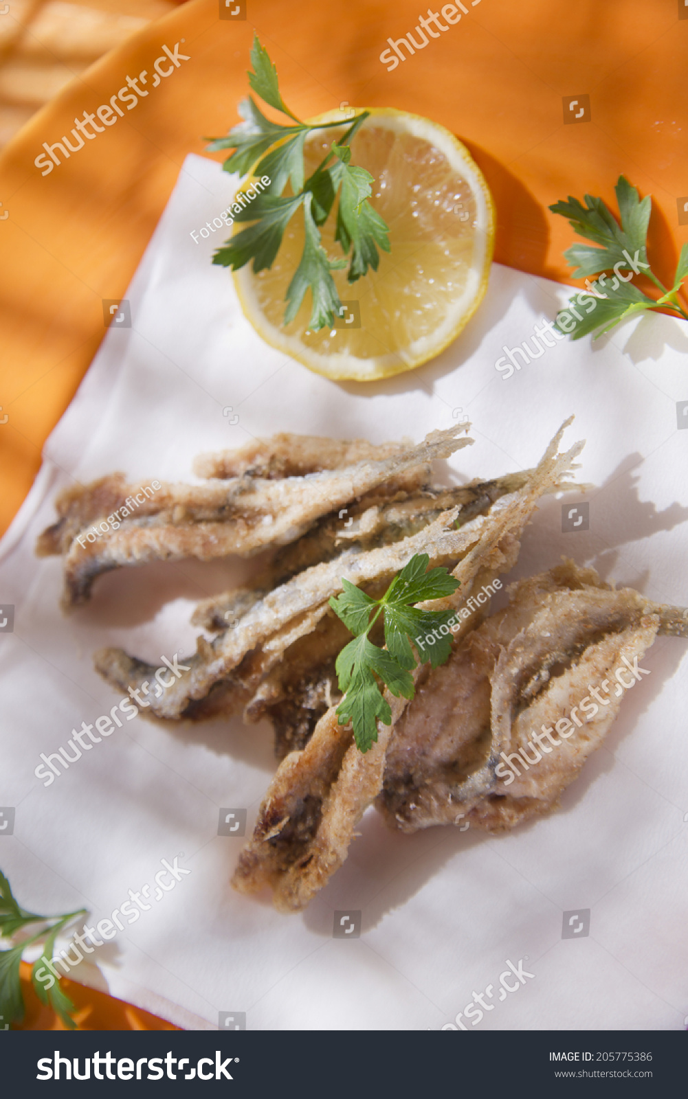 Presentation Seafood Platter Fried Anchovies Stock Photo Edit Now 205775386