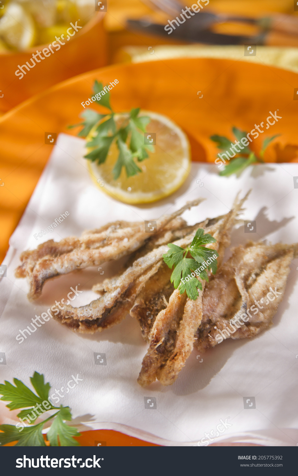 Presentation Seafood Platter Fried Anchovies Stock Photo Edit Now 205775392