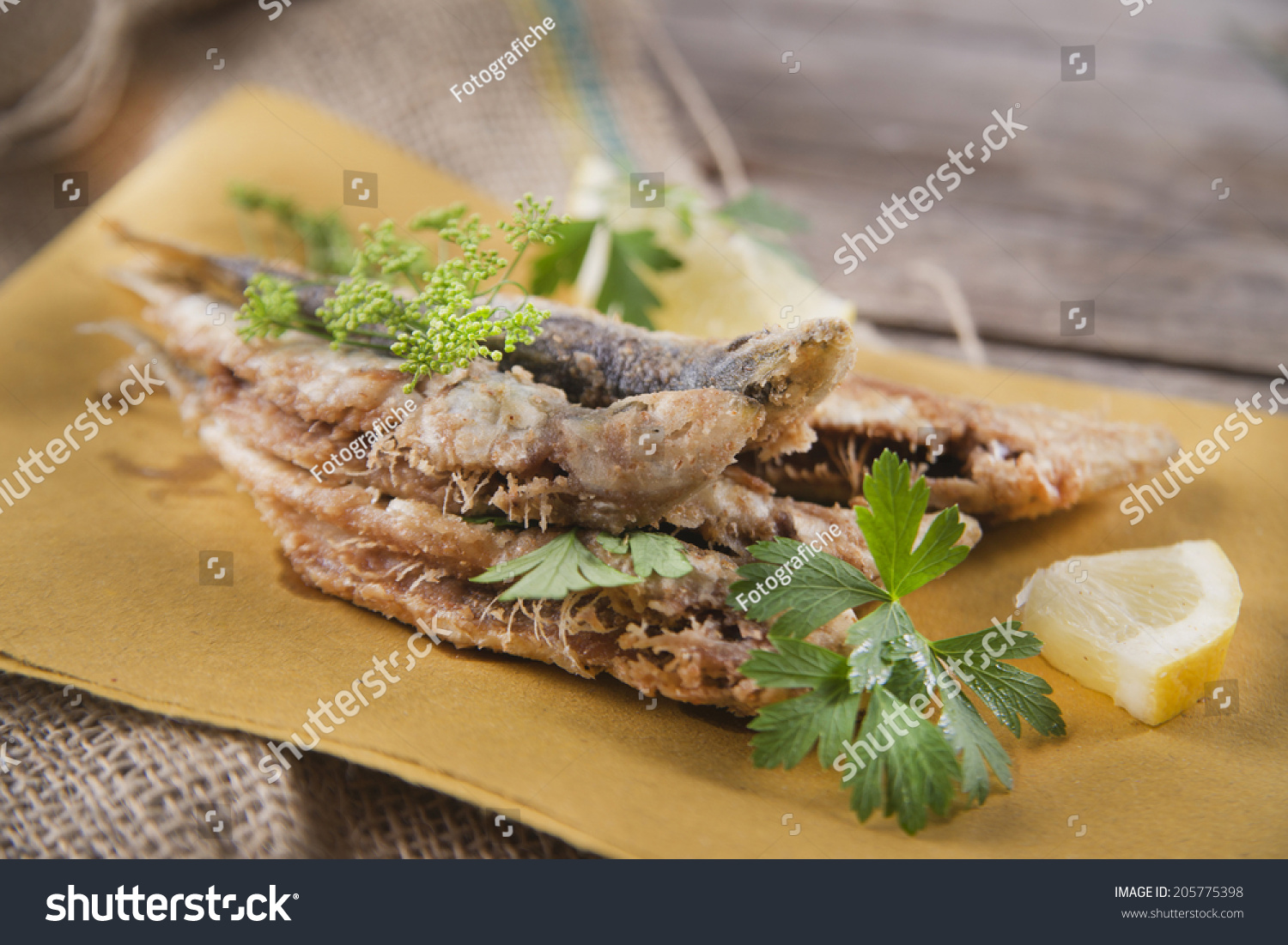 Presentation Seafood Platter Fried Anchovies Stock Photo Edit Now 205775398