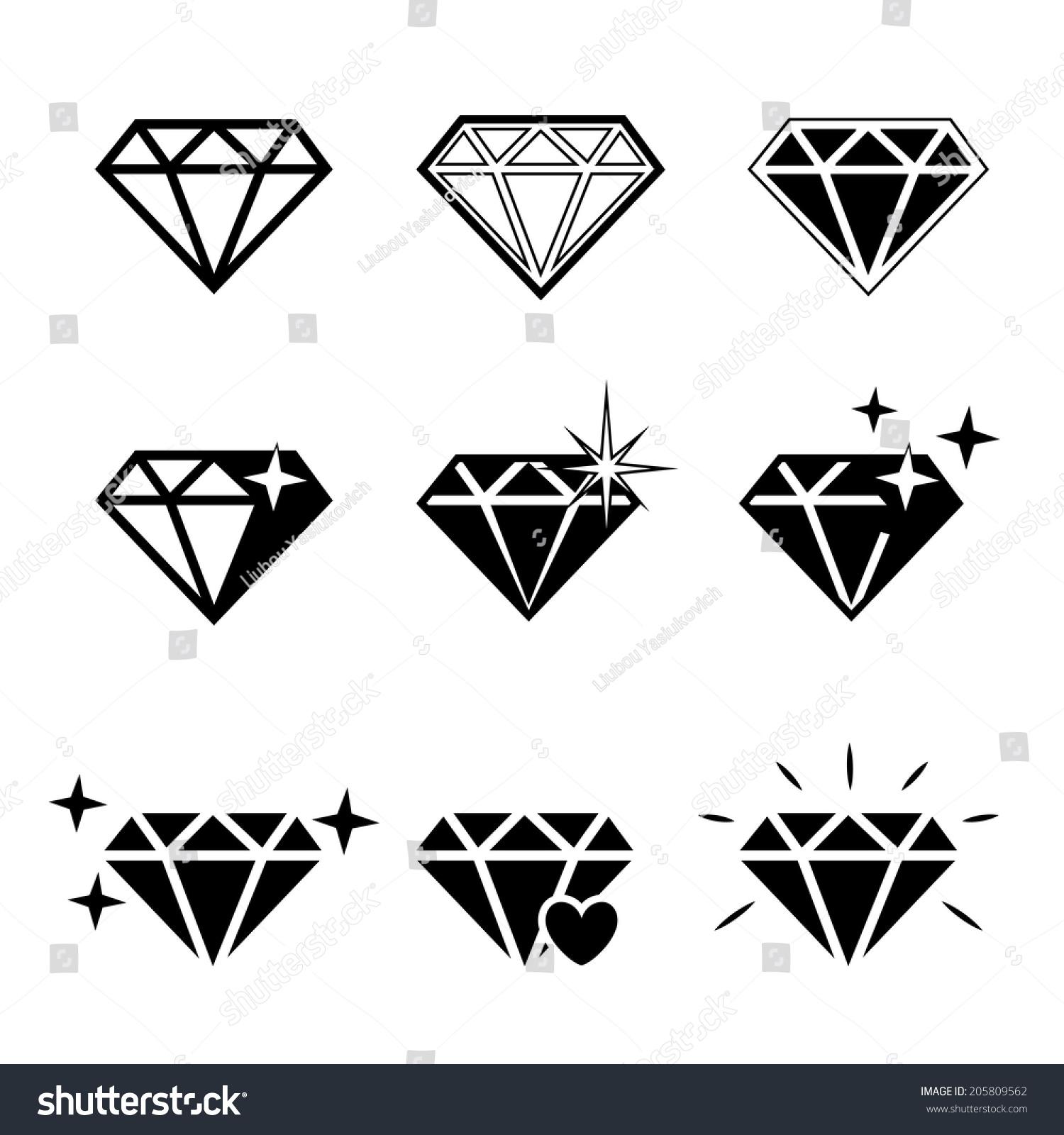 diamond vector icons set on white stock vector 205809562