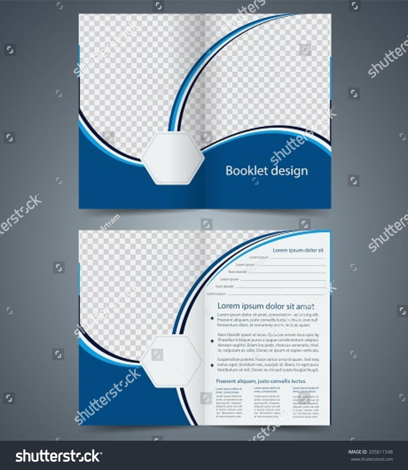 Blue Bifold Brochure Template Design Business Stock Vector - Double fold brochure template