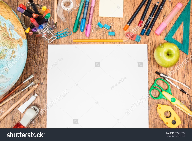 Top View School Accessories On Desk Stock Photo 205816516 ...