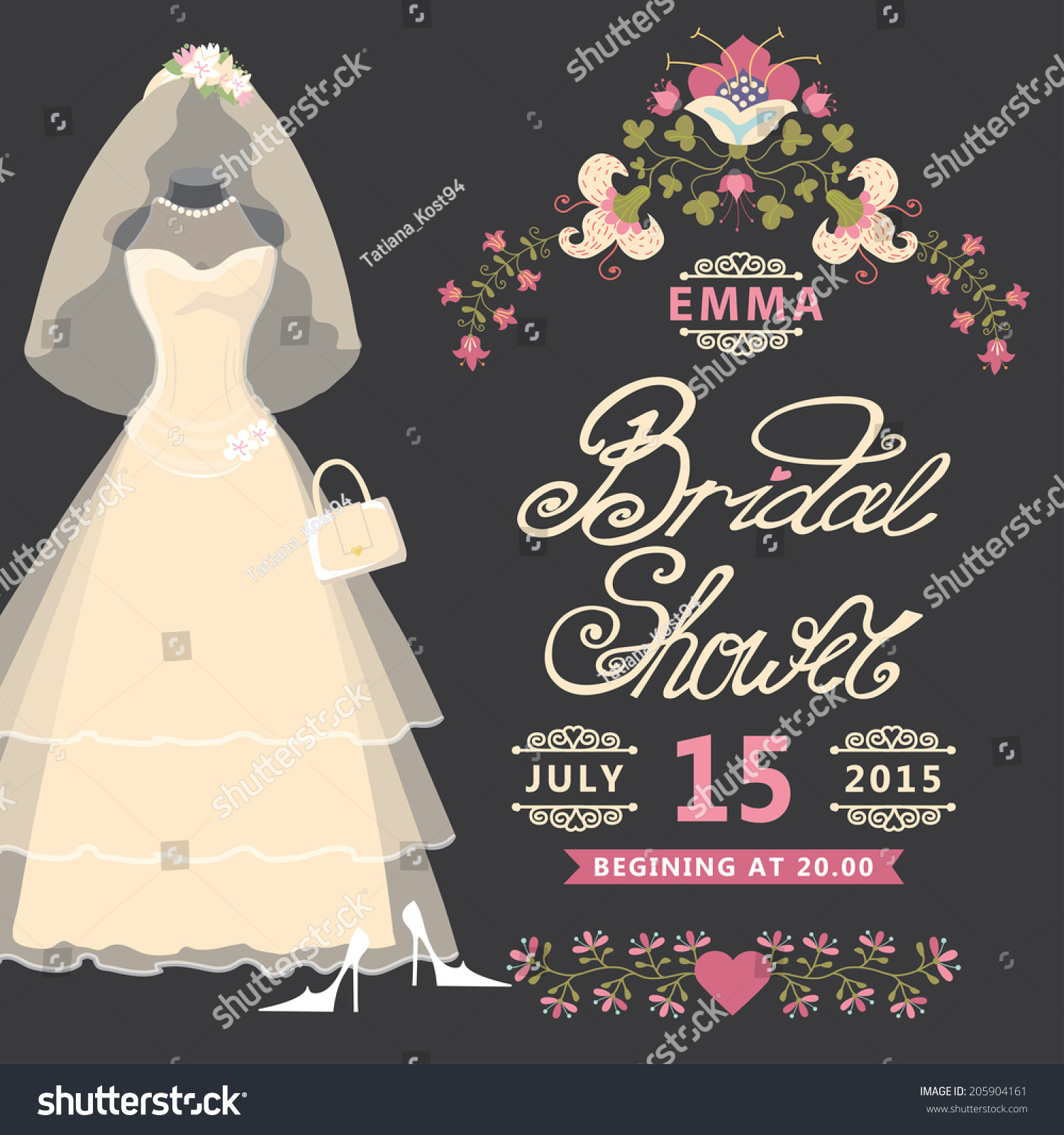 Bridal Shower Invitation Card Vintage Wedding Vector – Wedding Dress Shower Invitations