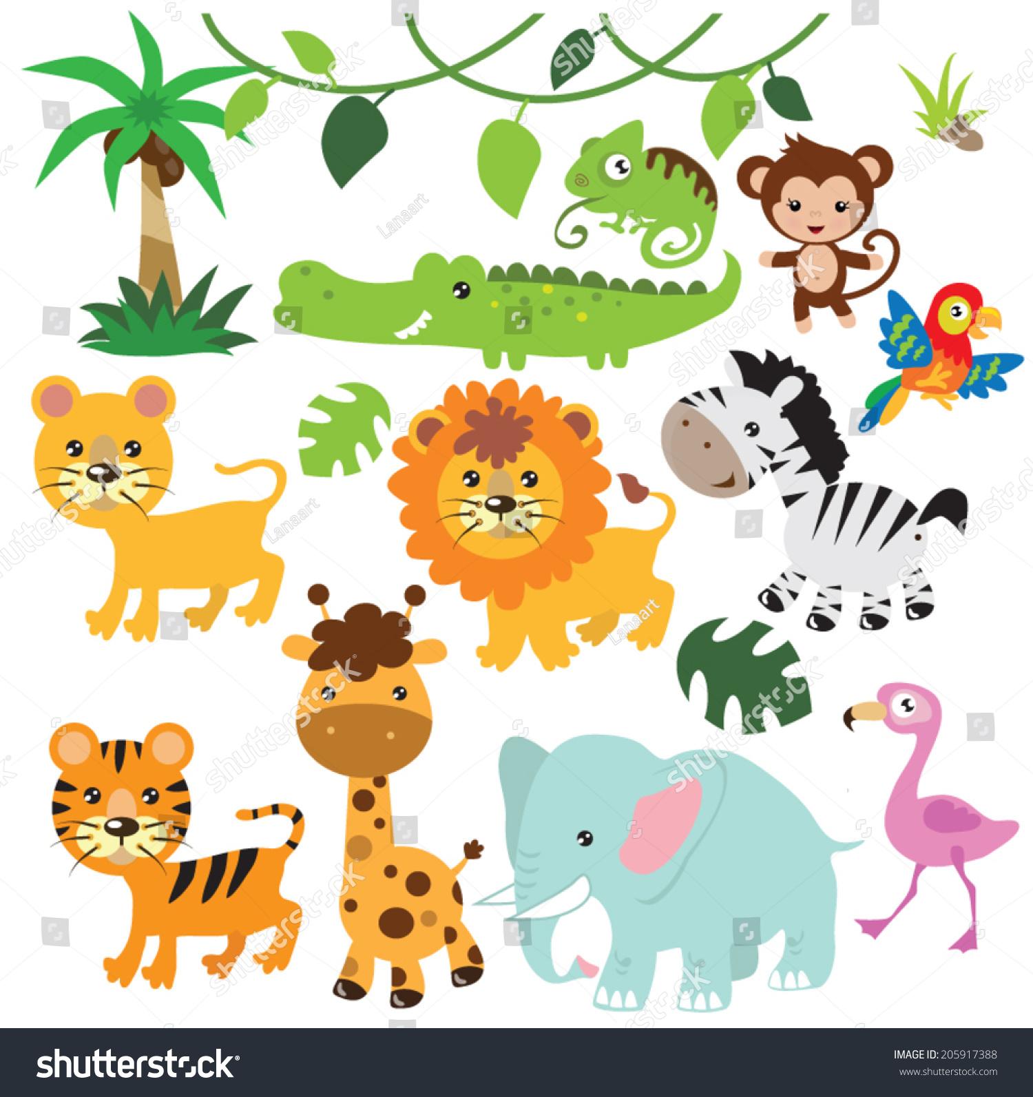 Jungle Animals Vector Illustration Stock Vector 205917388 ...
