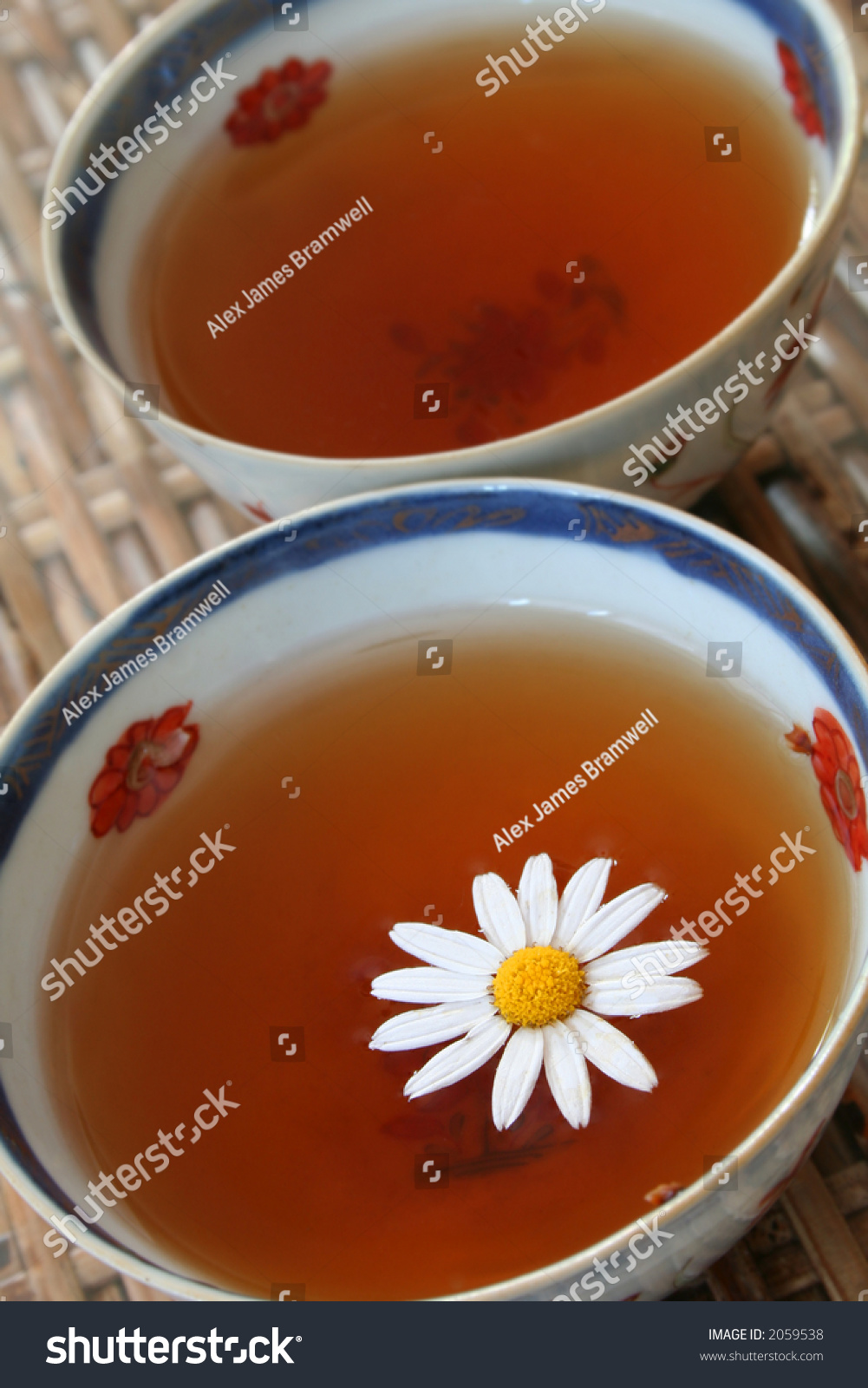 Tea Antique Chinese Bowl Daisy Flower Stock Photo Edit Now 2059538