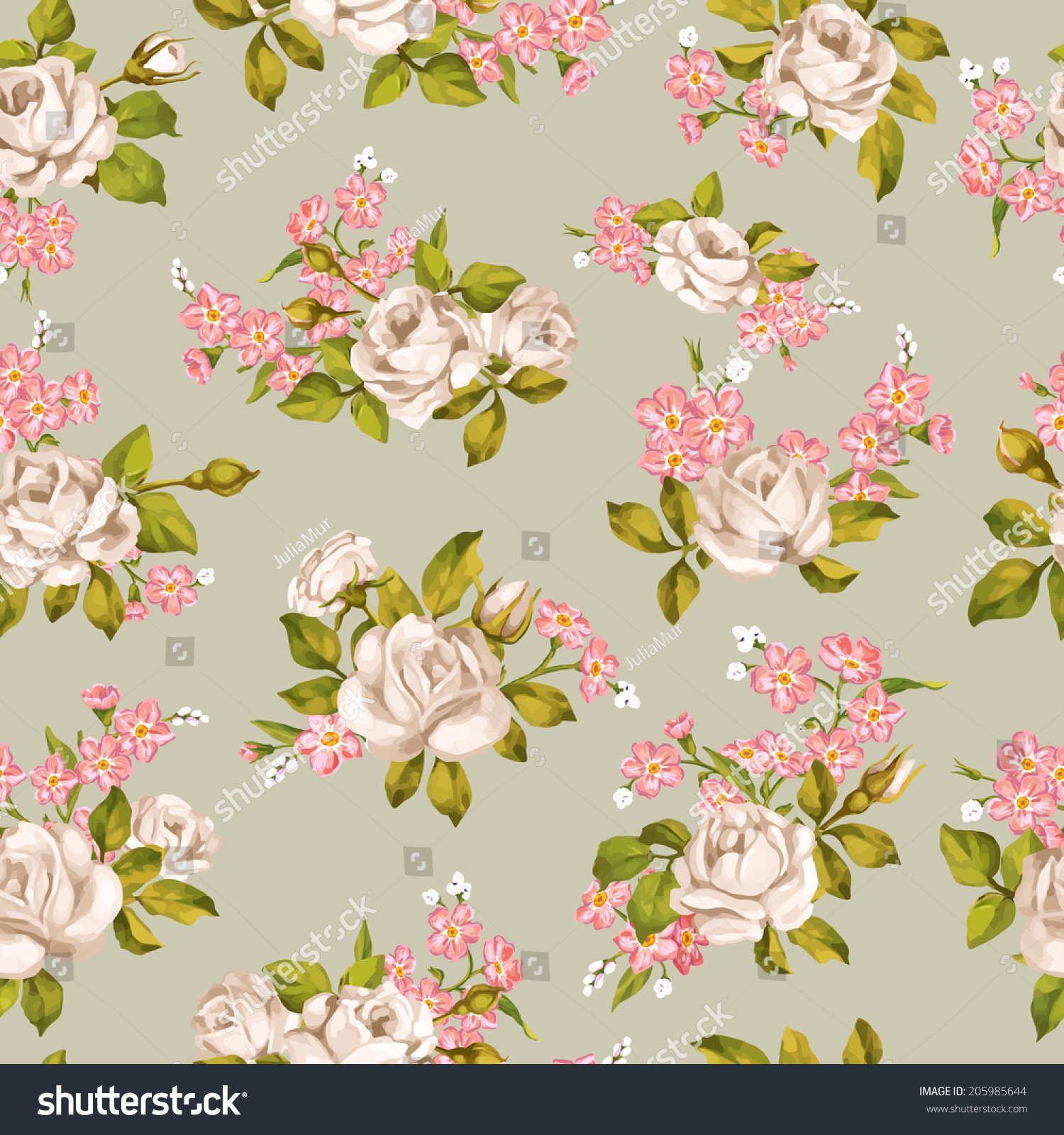 Beautiful Seamless Floral Pattern Flower Vector Illustration Elegance Wallpaper With Of Roses And Forget