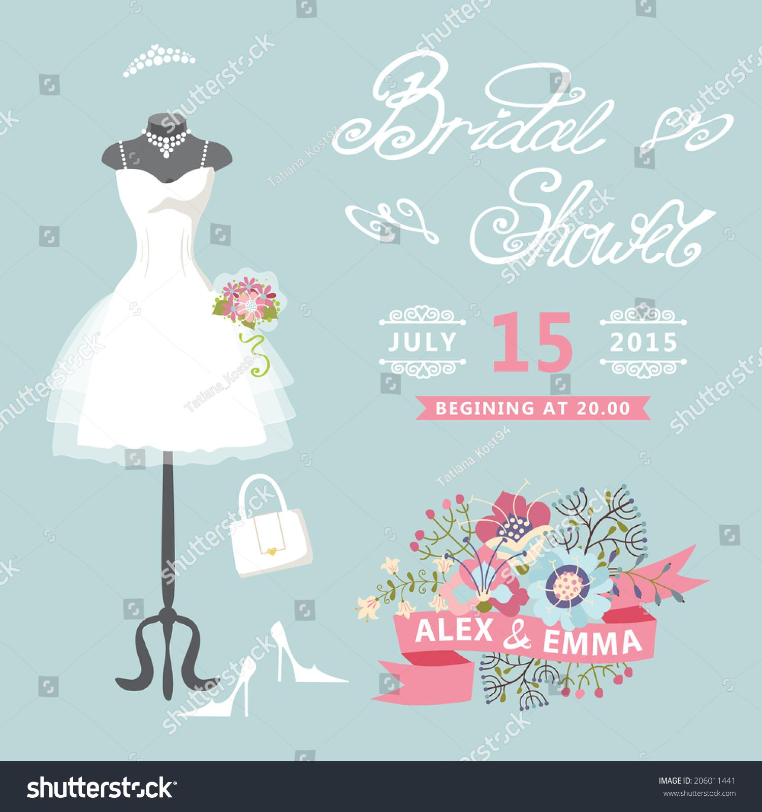 Bridal Shower Card Floral Elements Composition Stock Vector ...
