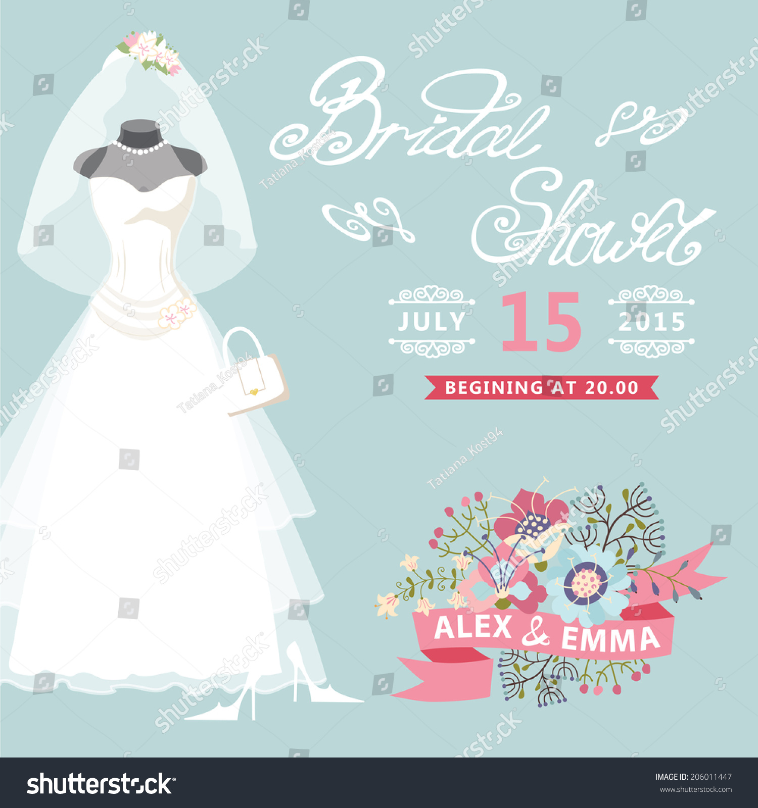 Bridal Shower Card Floral Elements Composition Stock Vector