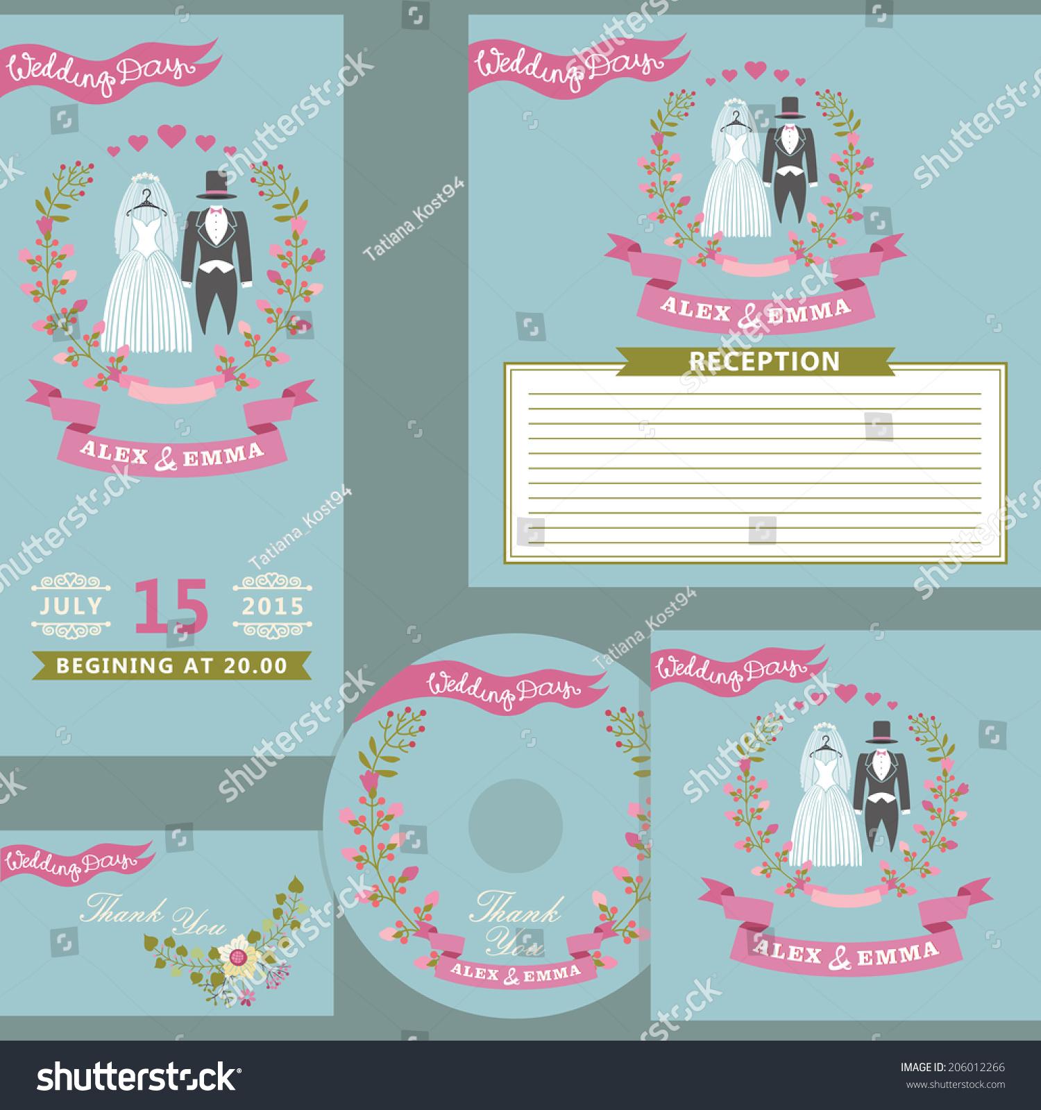 Vintage Wedding Invitation Design Template Set Stock Vector ...