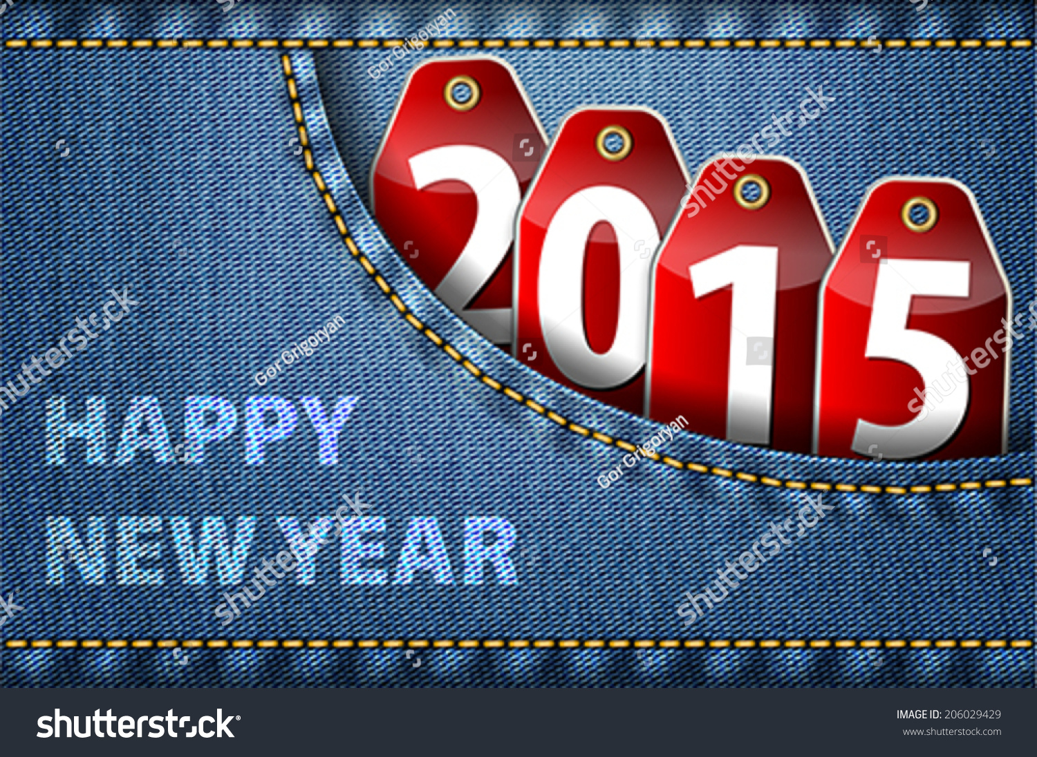 Happy new year greetings 2015 digits stock photo photo vector happy new year greetings and 2015 digits on red tags in blue jeans pocket vector m4hsunfo