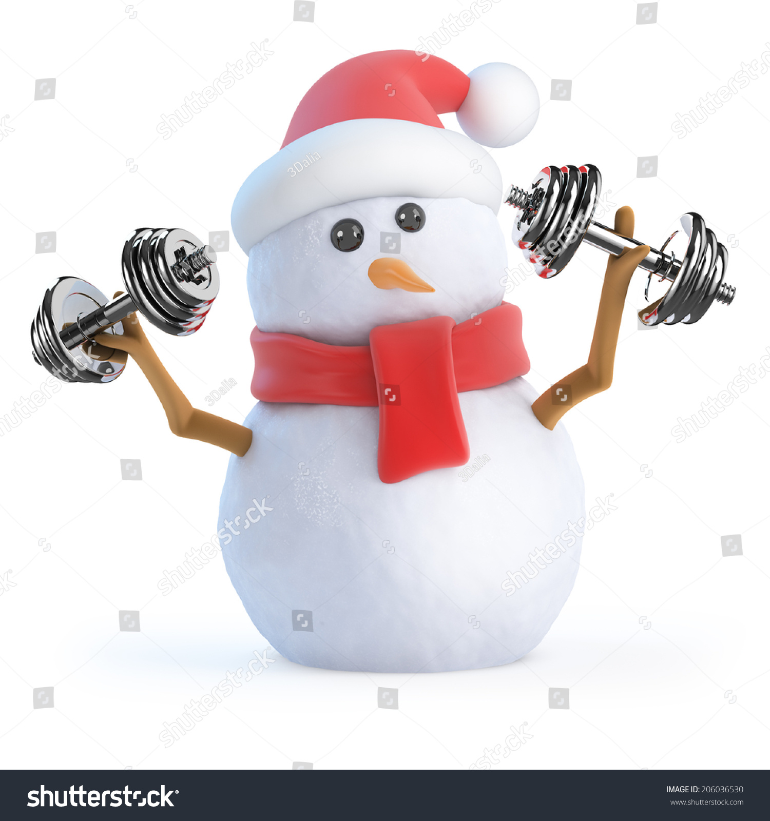 3d render snowman working out weights stock illustration 206036530