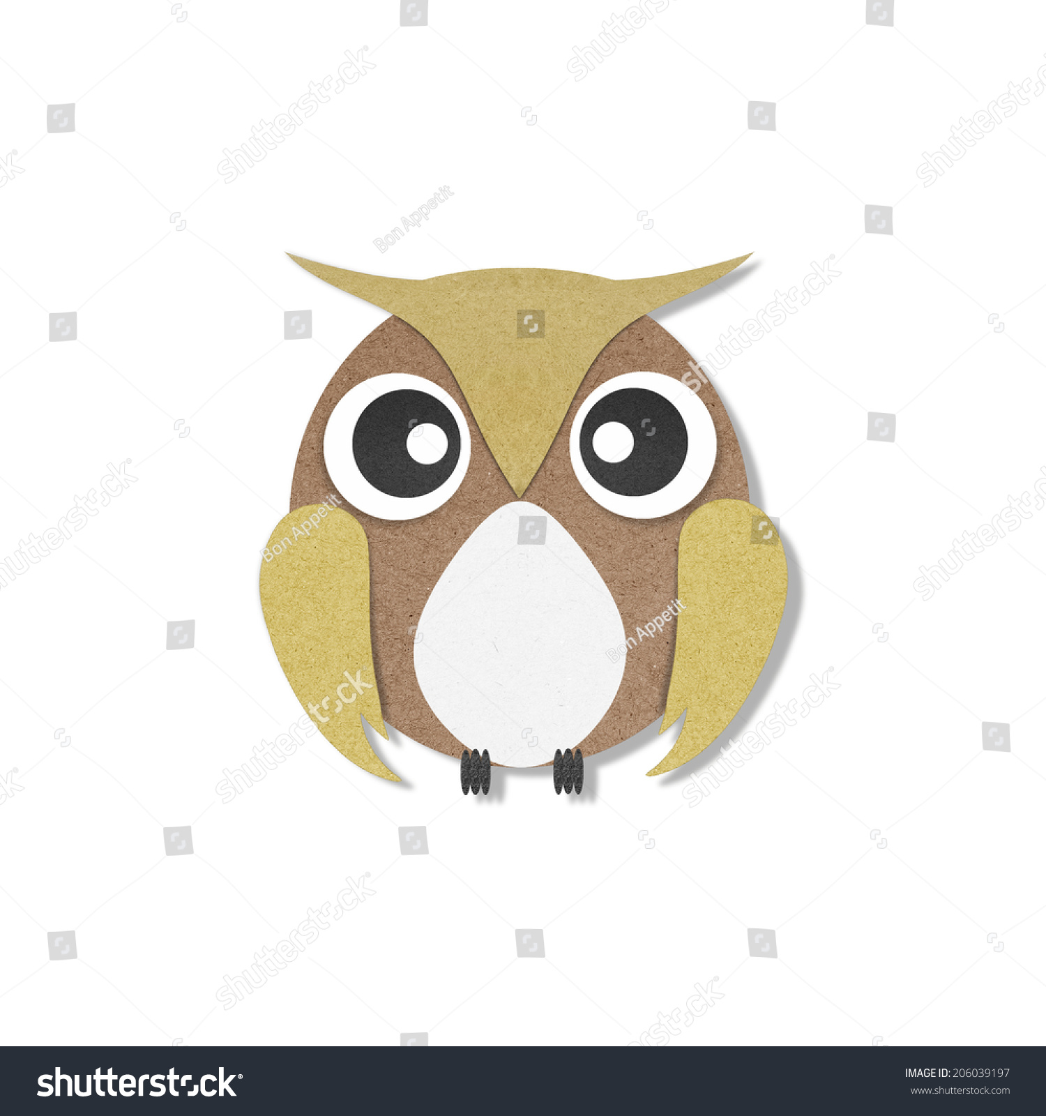 Owl paper craft on white background stock illustration 206039197 owl paper craft on white background jeuxipadfo Choice Image