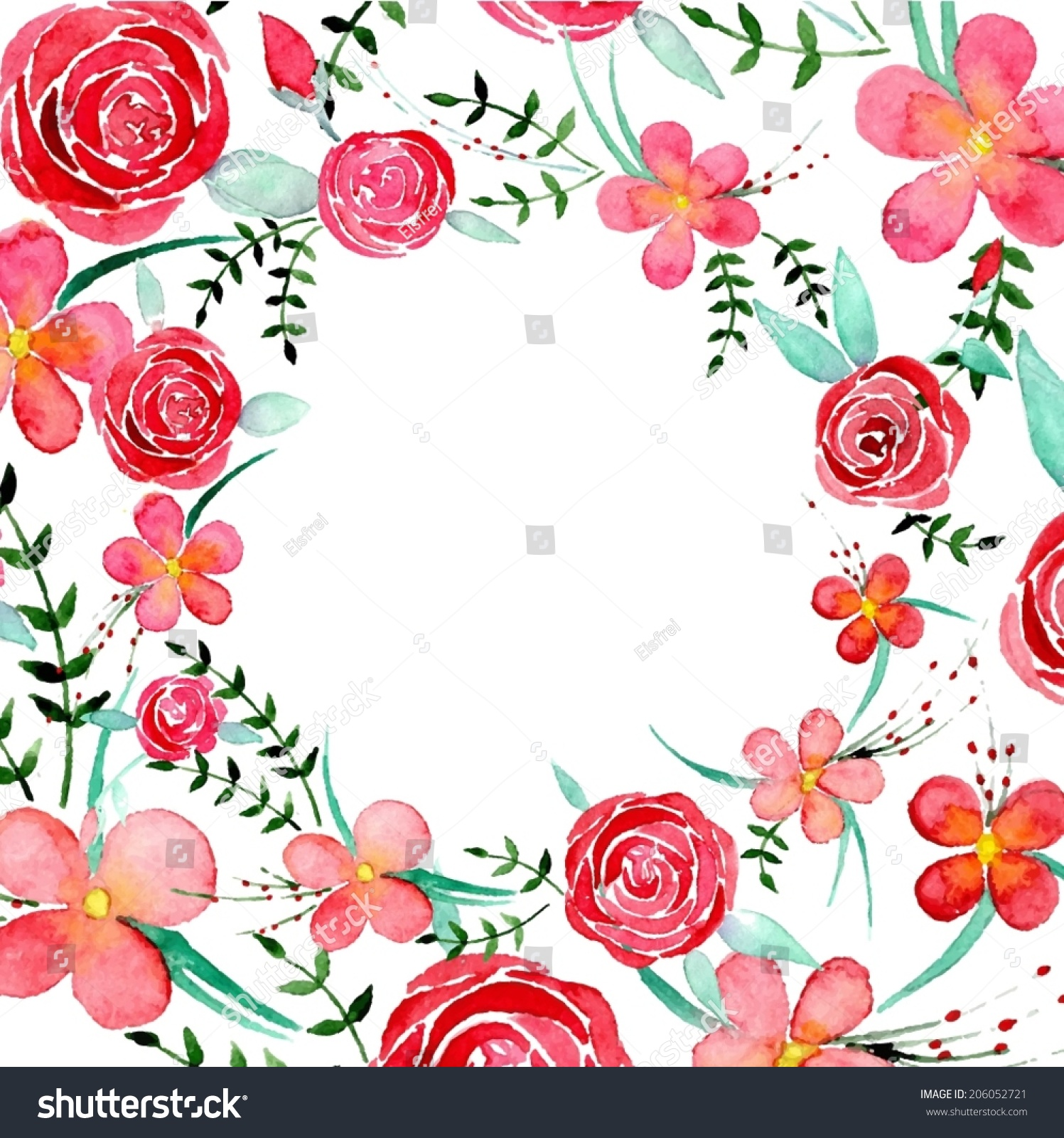 Watercolor round floral background in vector stock vector clipart me - Watercolor Flowers Circle Frame Vector Format Stock Vector