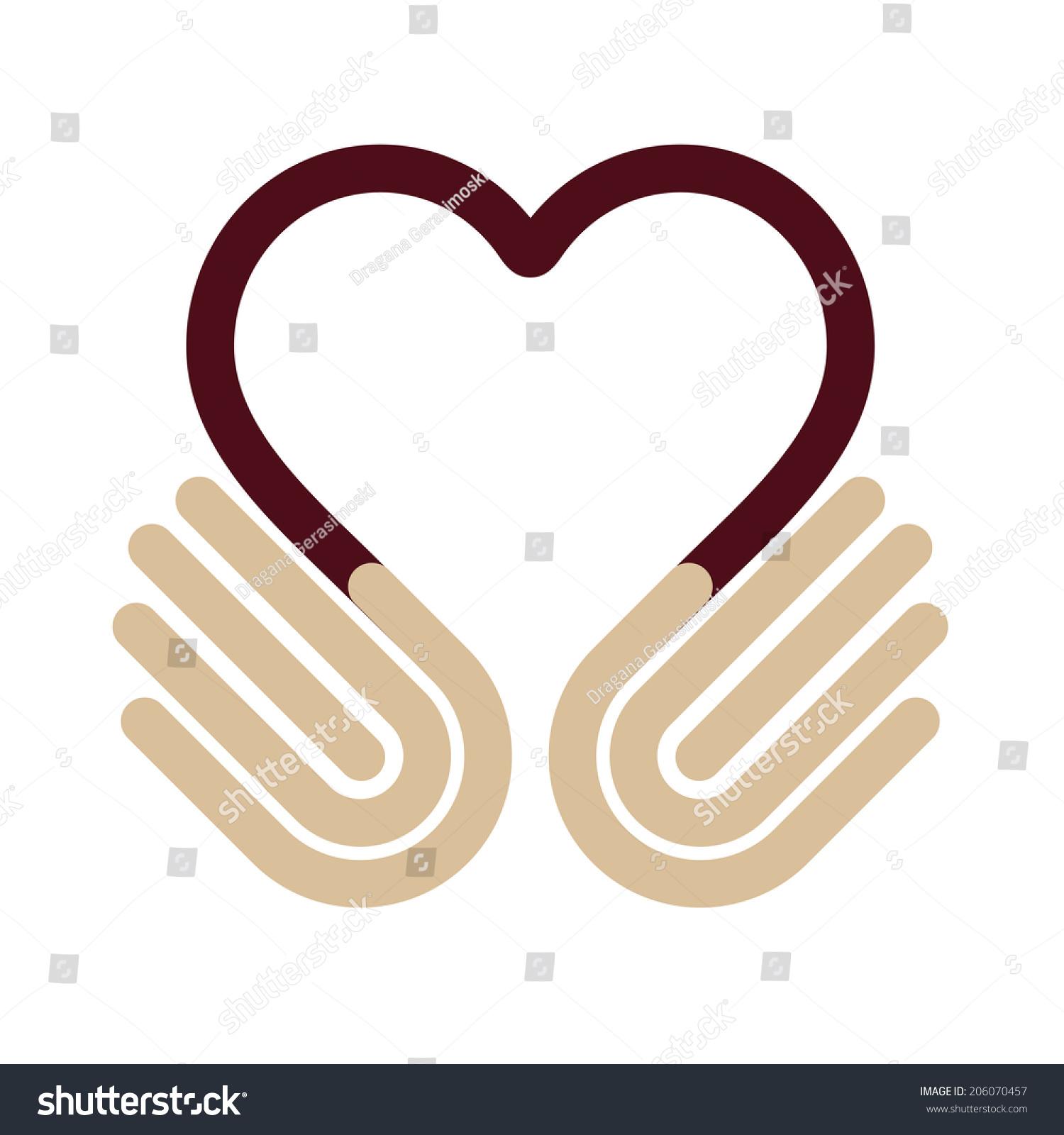 Heart Symbol Hands Help Concept Give Stock Illustration 206070457