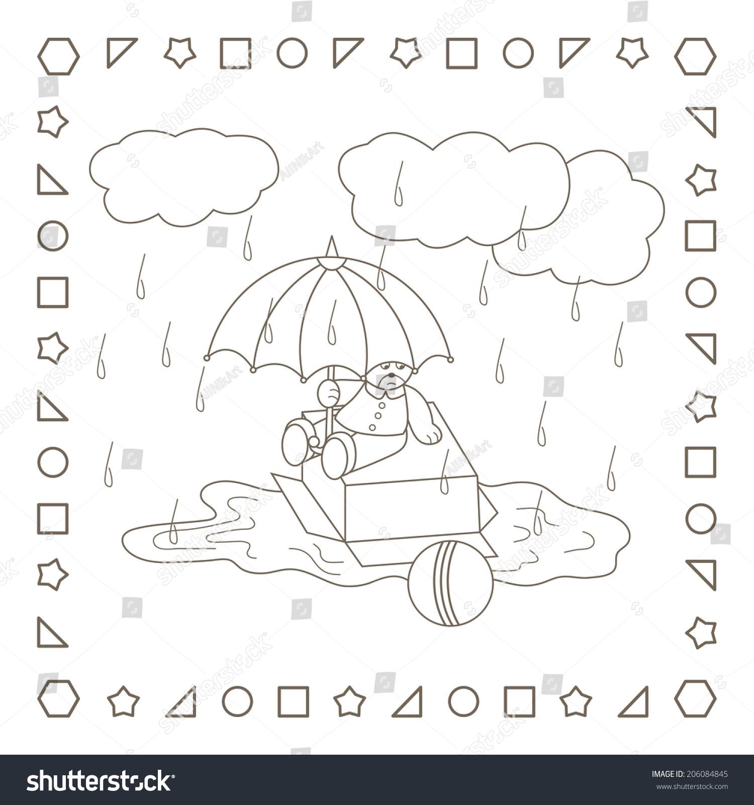Rainy Weather Teddy Bear Umbrella Coloring Stock Illustration