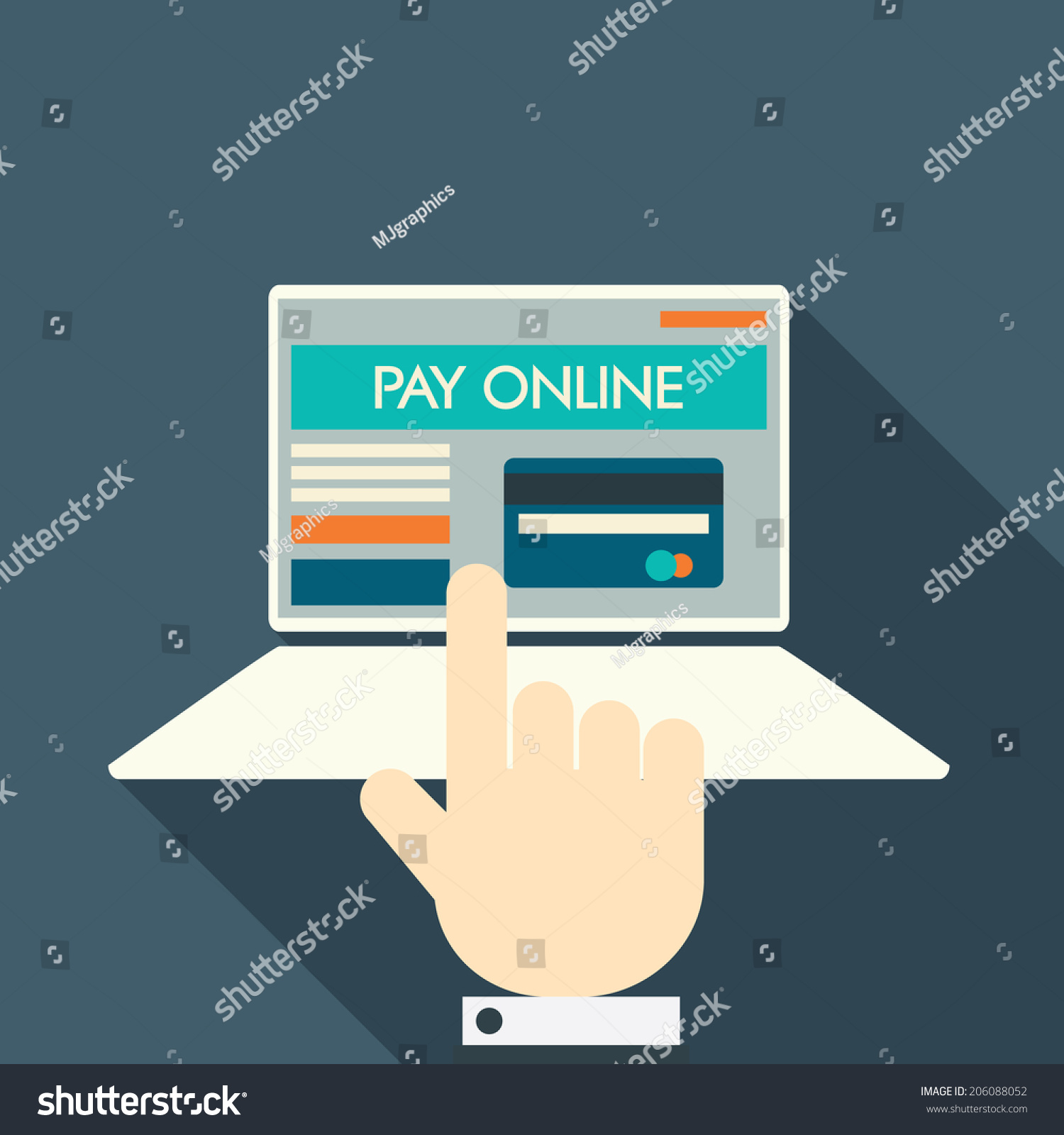 Pay Online Concept On Modern Technology Stock Vector ...