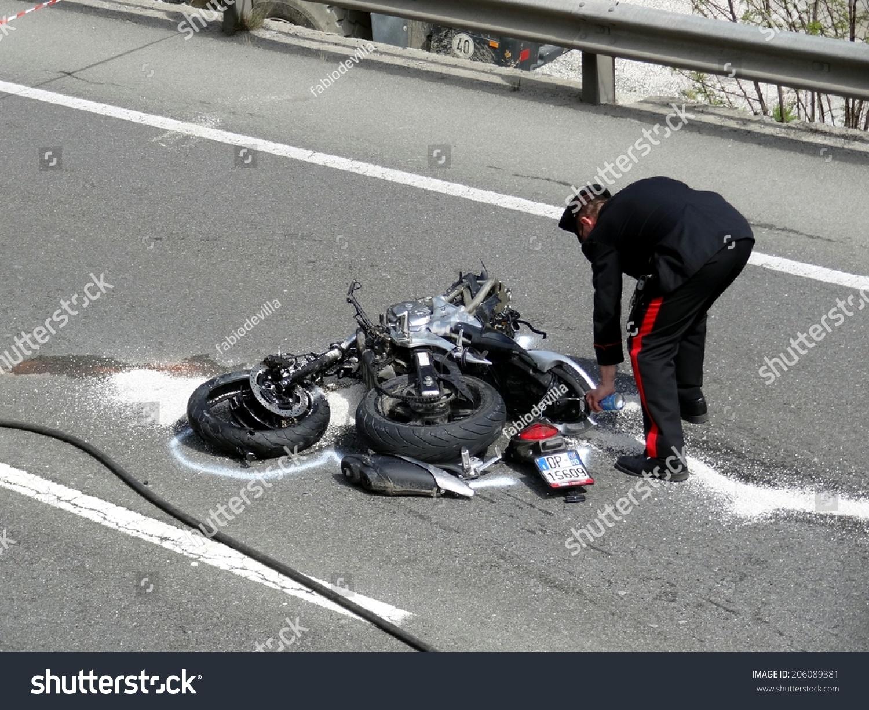Bolzano, Italy - May 6, 2013: Fatal Motorbike Car Crash ...