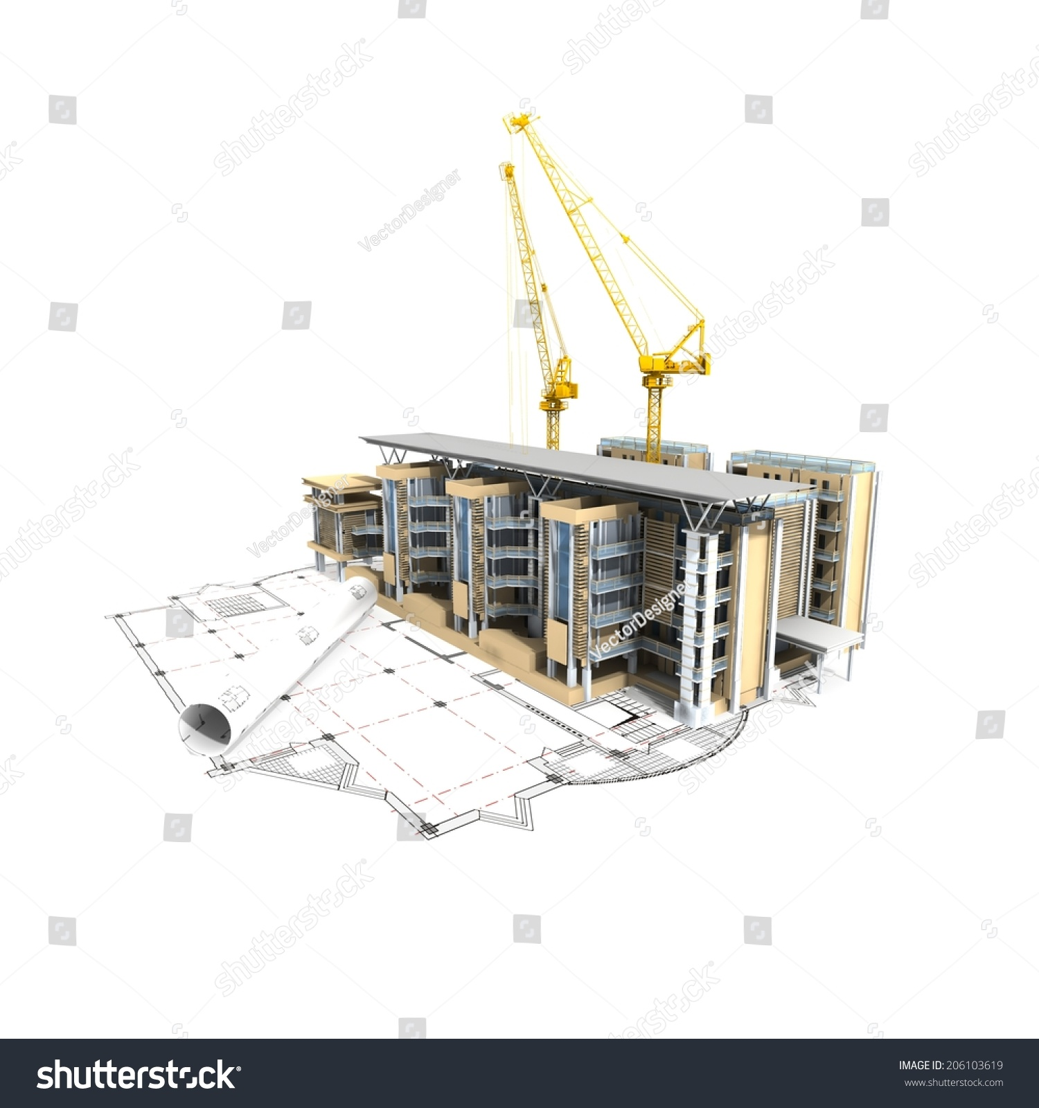 3d Plan Drawing Stock Photo 206103619 Shutterstock