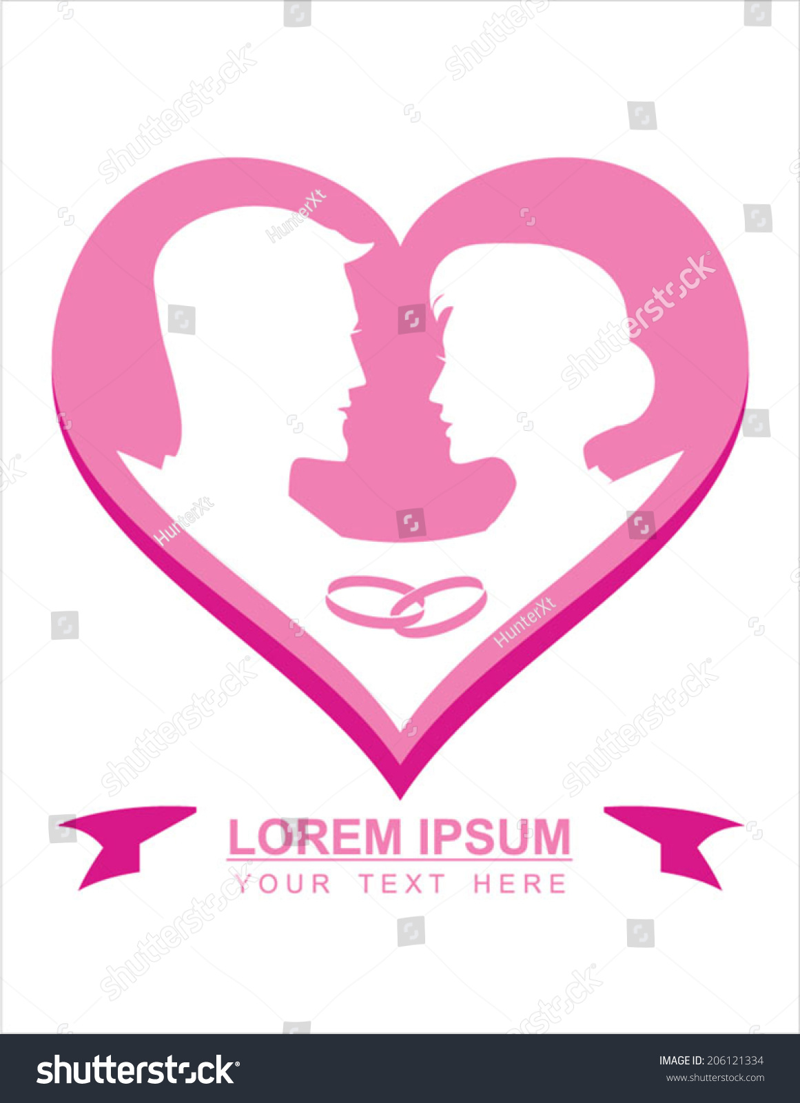 Young Couple Wedding Ring Symbol Love Stock Vector (Royalty Free ...