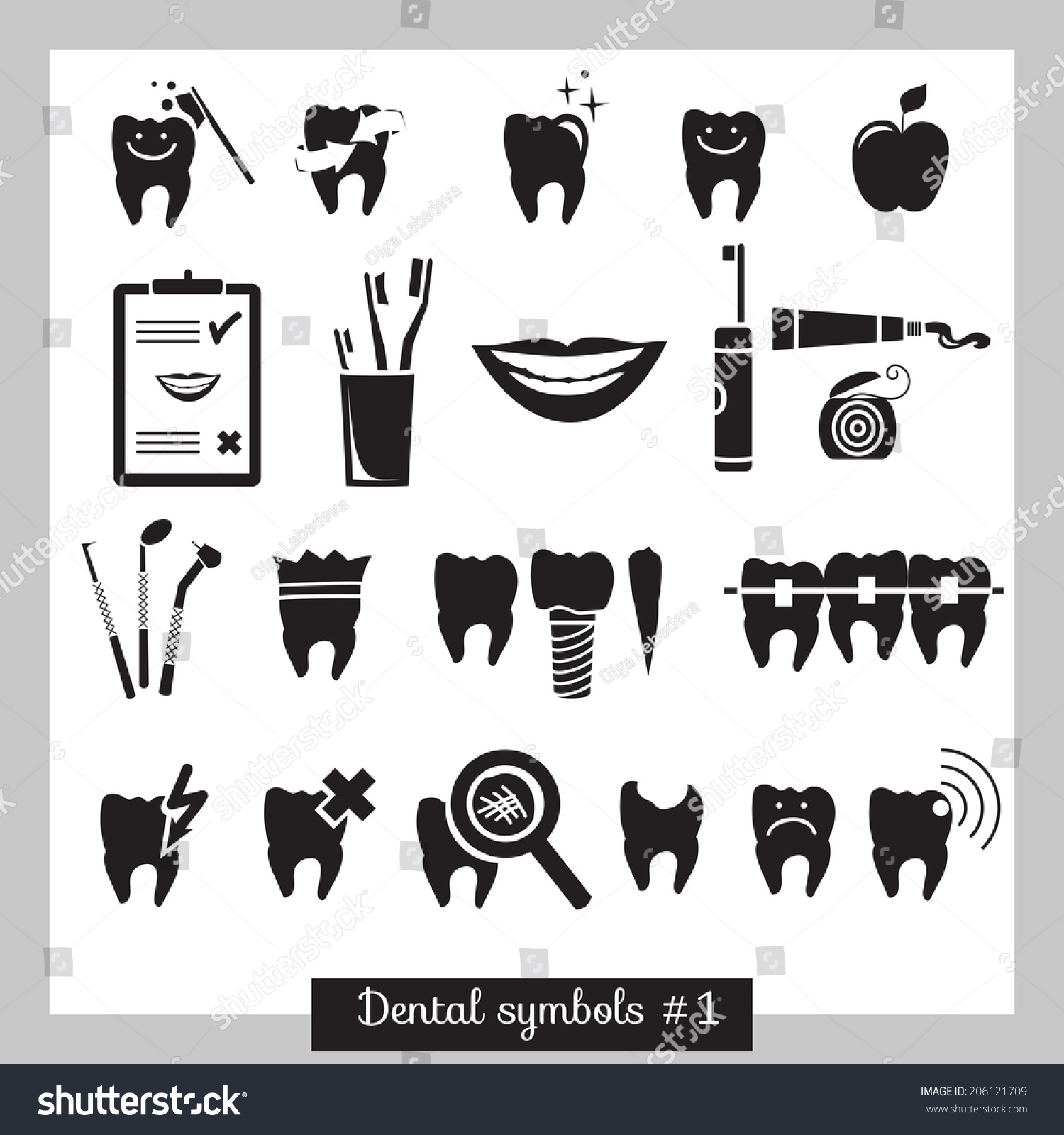 Set Dentistry Symbols Part 1 Dental Stock Vector 206121709 ...