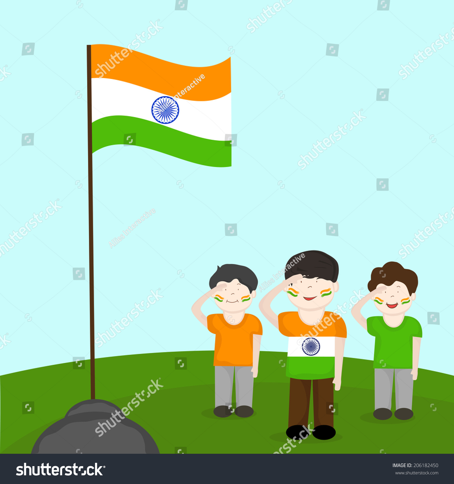 cute little boys saluting indian national stock illustration