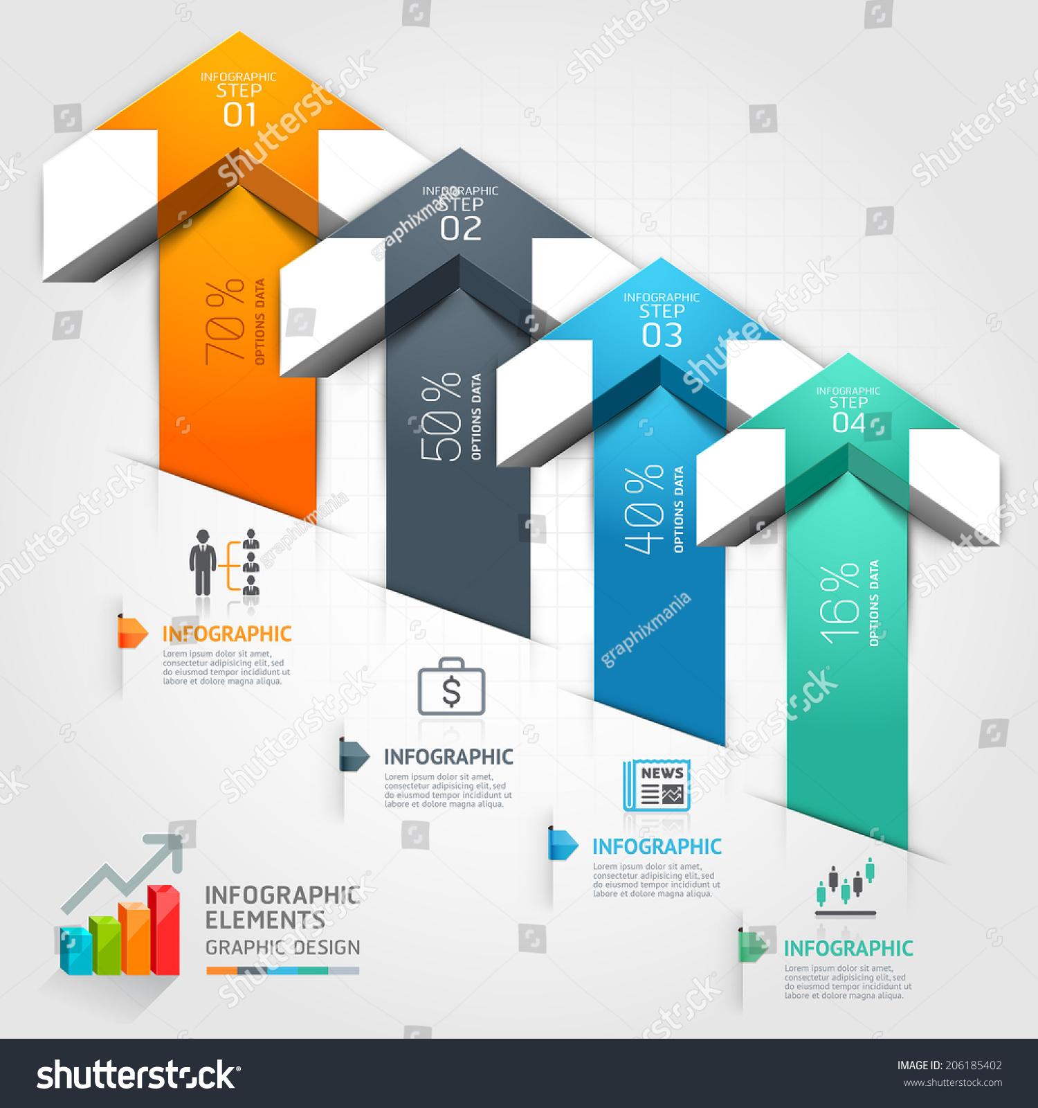 3 D Step Arrow Staircase Diagram Business Stock Vector 206185402 ...