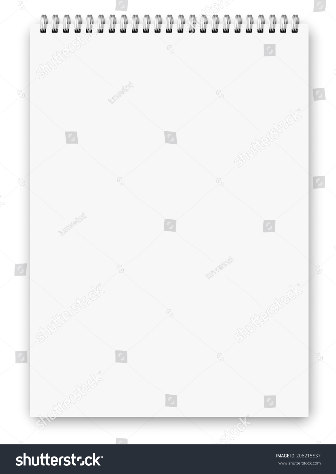Realistic A3 Size Spiral Vertical Vector Lined Notebook Isolated – Vertical Lined Paper