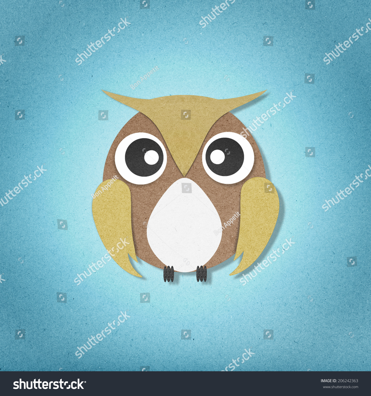 Owl paper craft on paper background stock illustration 206242363 owl paper craft on paper background jeuxipadfo Choice Image