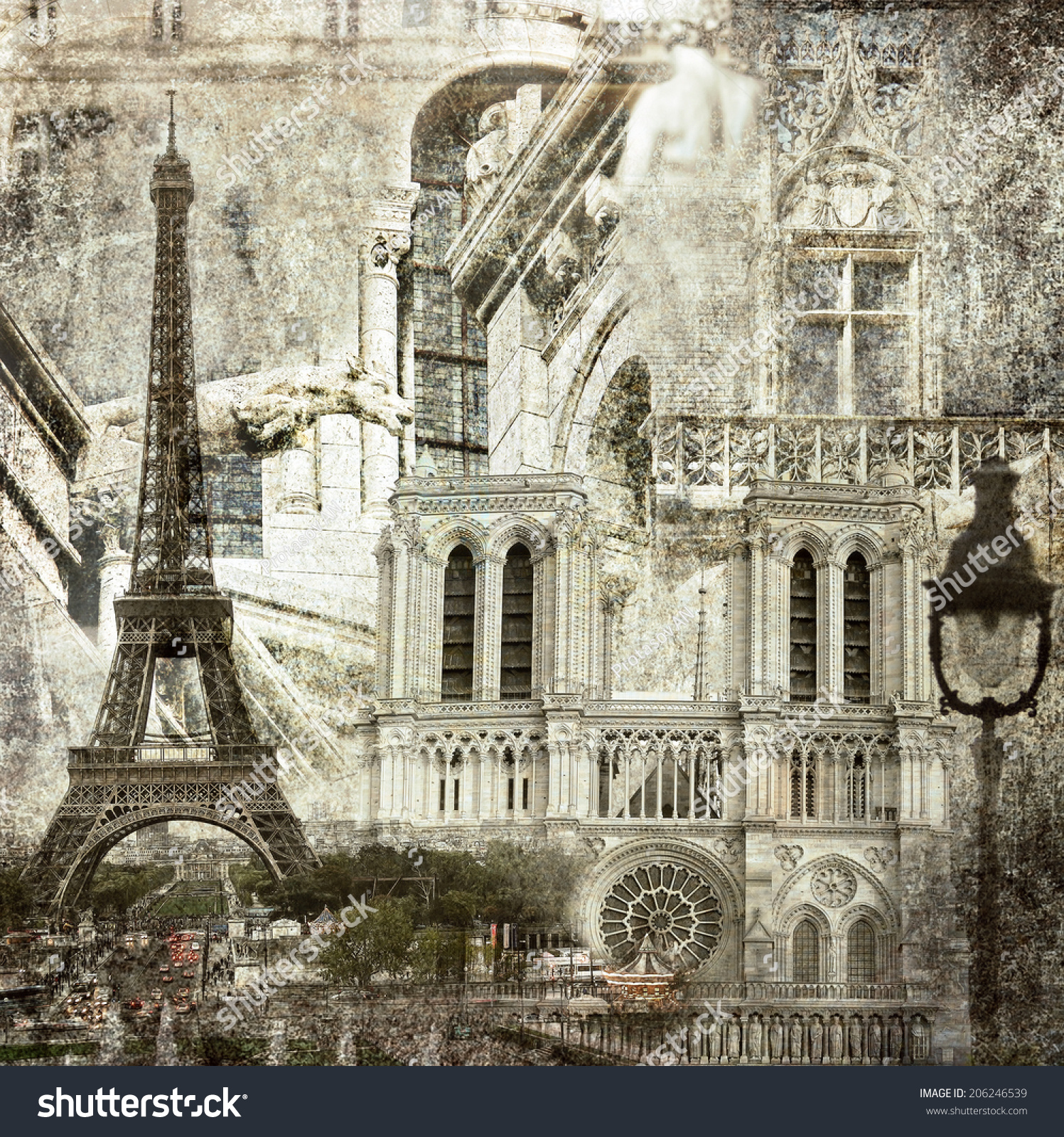 textured grunge paper background with paris architecture vintage style stock photo 206246539. Black Bedroom Furniture Sets. Home Design Ideas