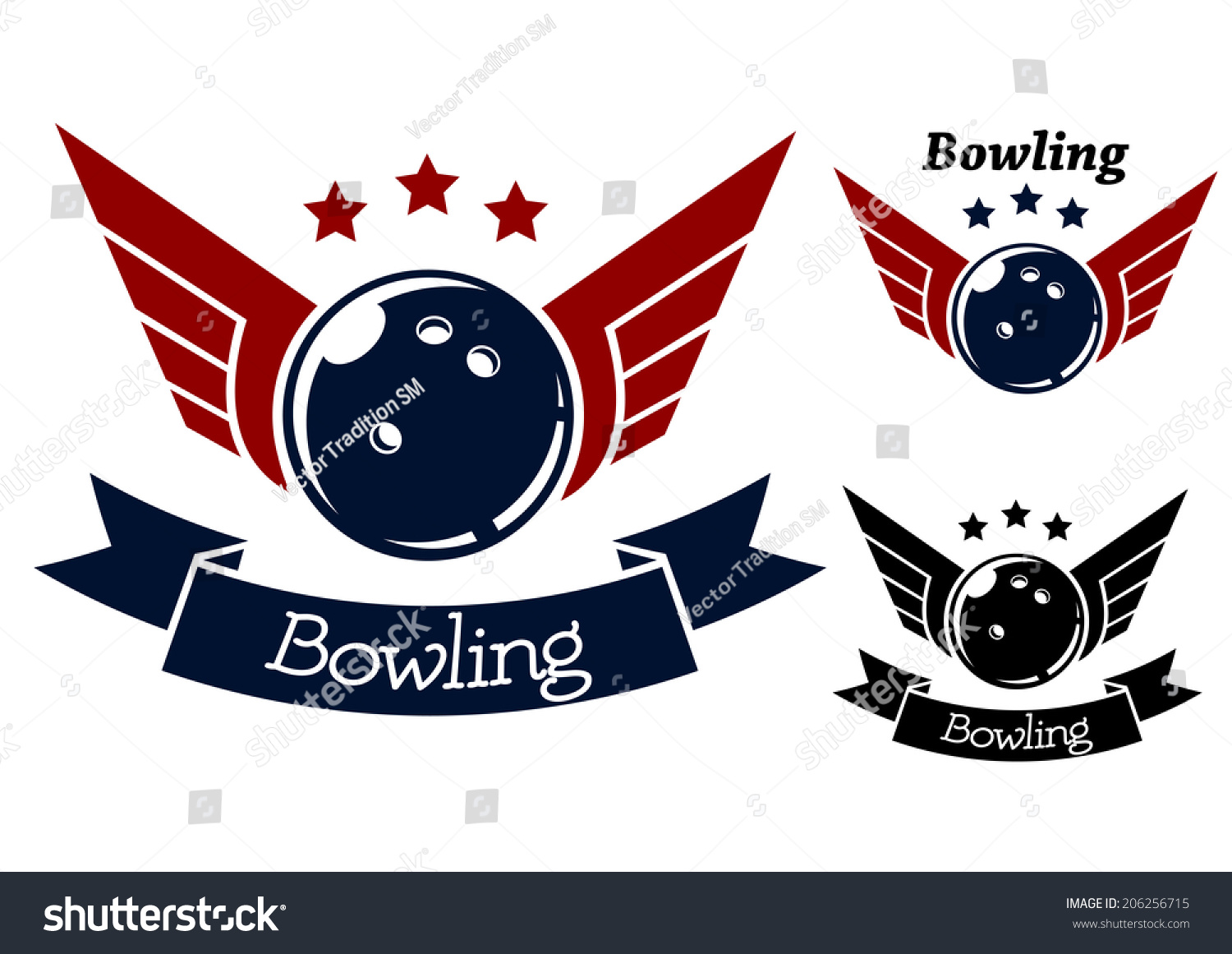 Bowling Symbols With Wings For Sporting Logo Or Heraldry Design Stock ...
