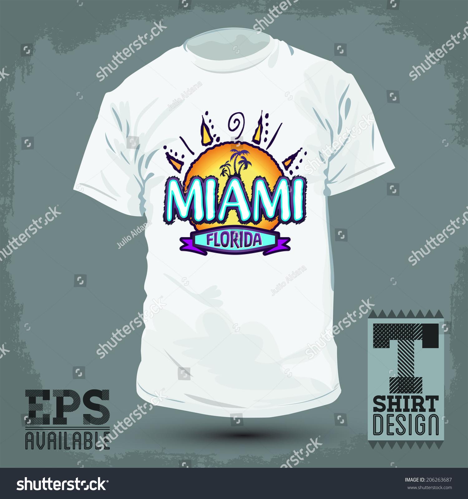 Graphic T Shirt Design Miami Florida Stock Vector Royalty Free