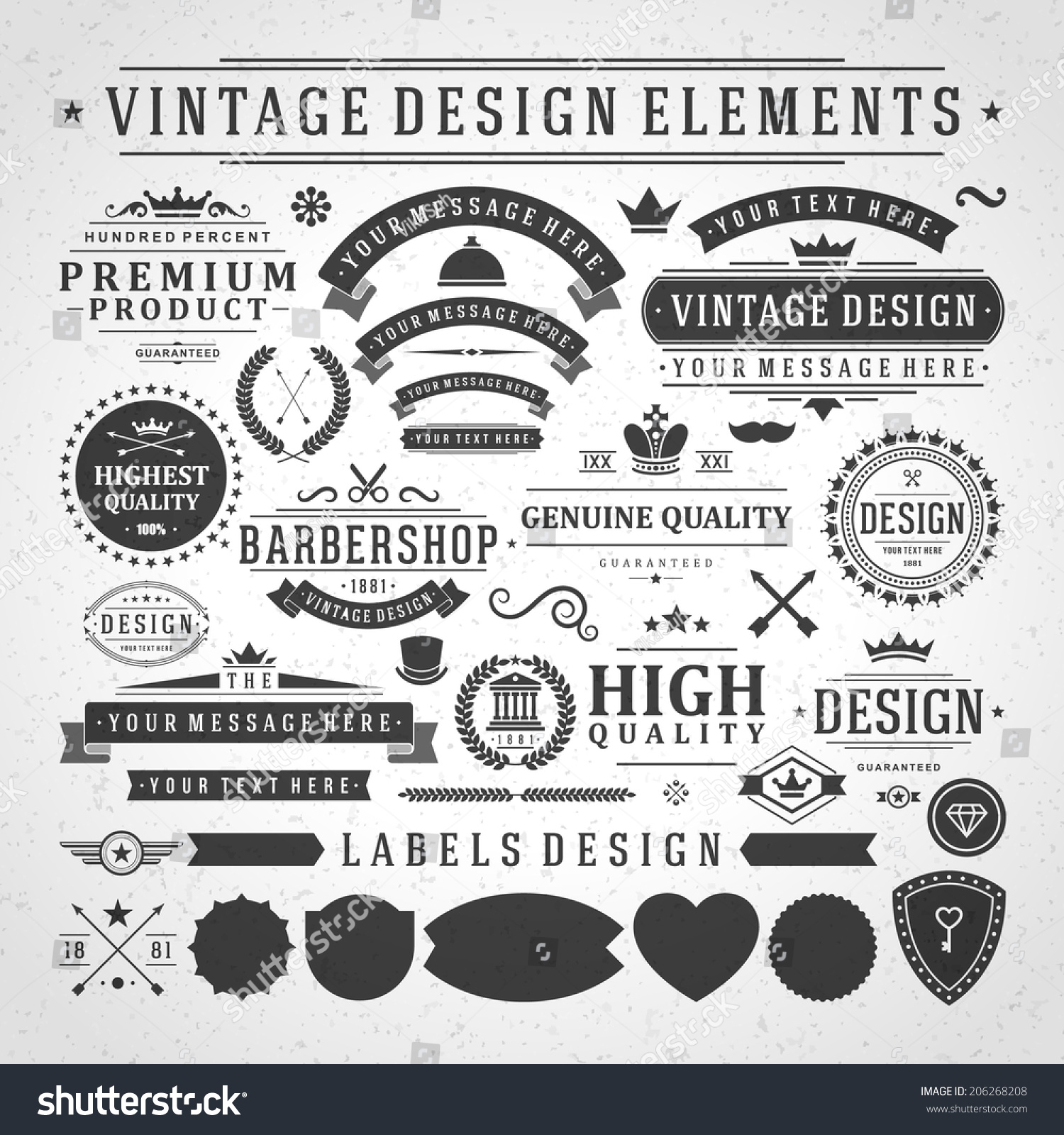 Vintage Vector Design Elements. Retro Style Golden ...