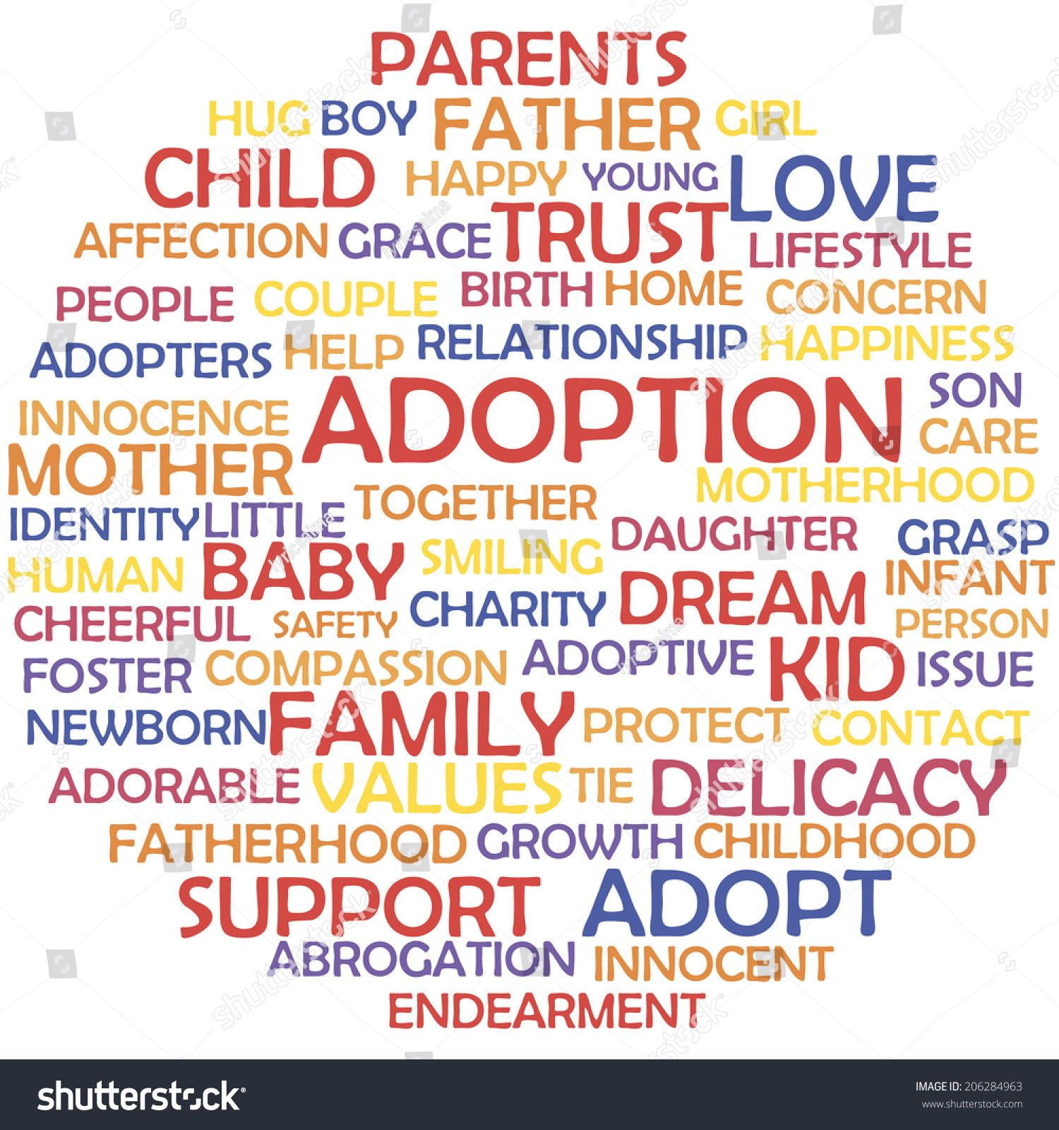 Adoption Related Words Tag Cloud Concept Stock Vector