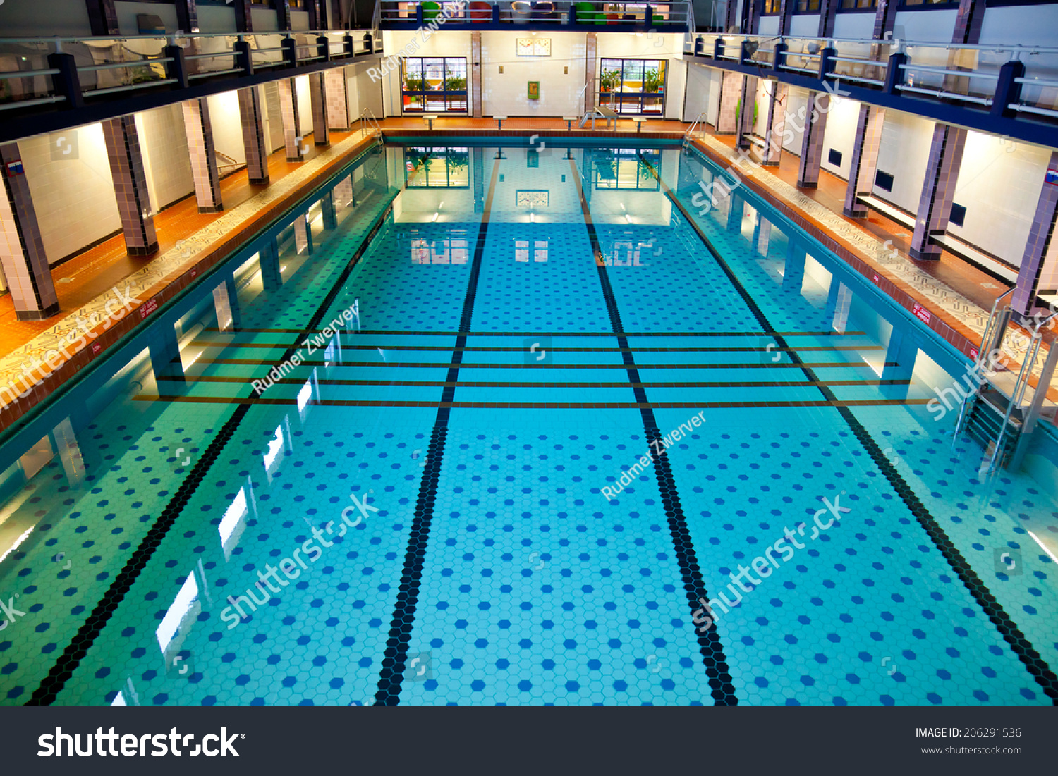 Historical Large Swimming Pool Hall Suitable For Competition Events Stock Photo 206291536