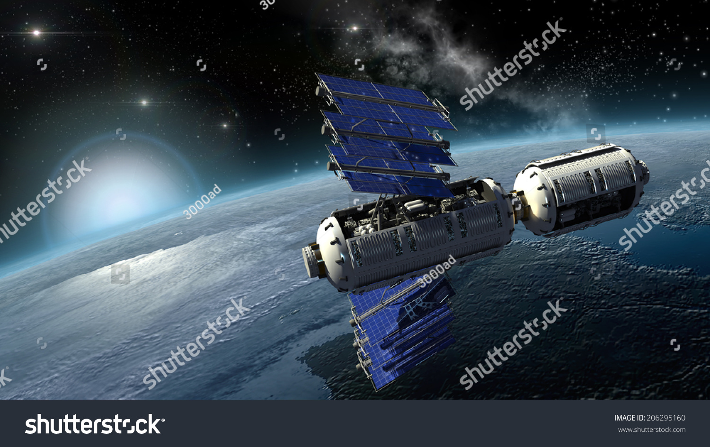 Satellite Surveying Earth Spacelab Spacecraft Design Stock