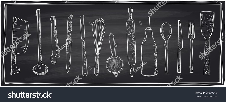 Chalkboard Kitchen Hand Drawn Set Kitchen Utensils On Stock Vector 206303467